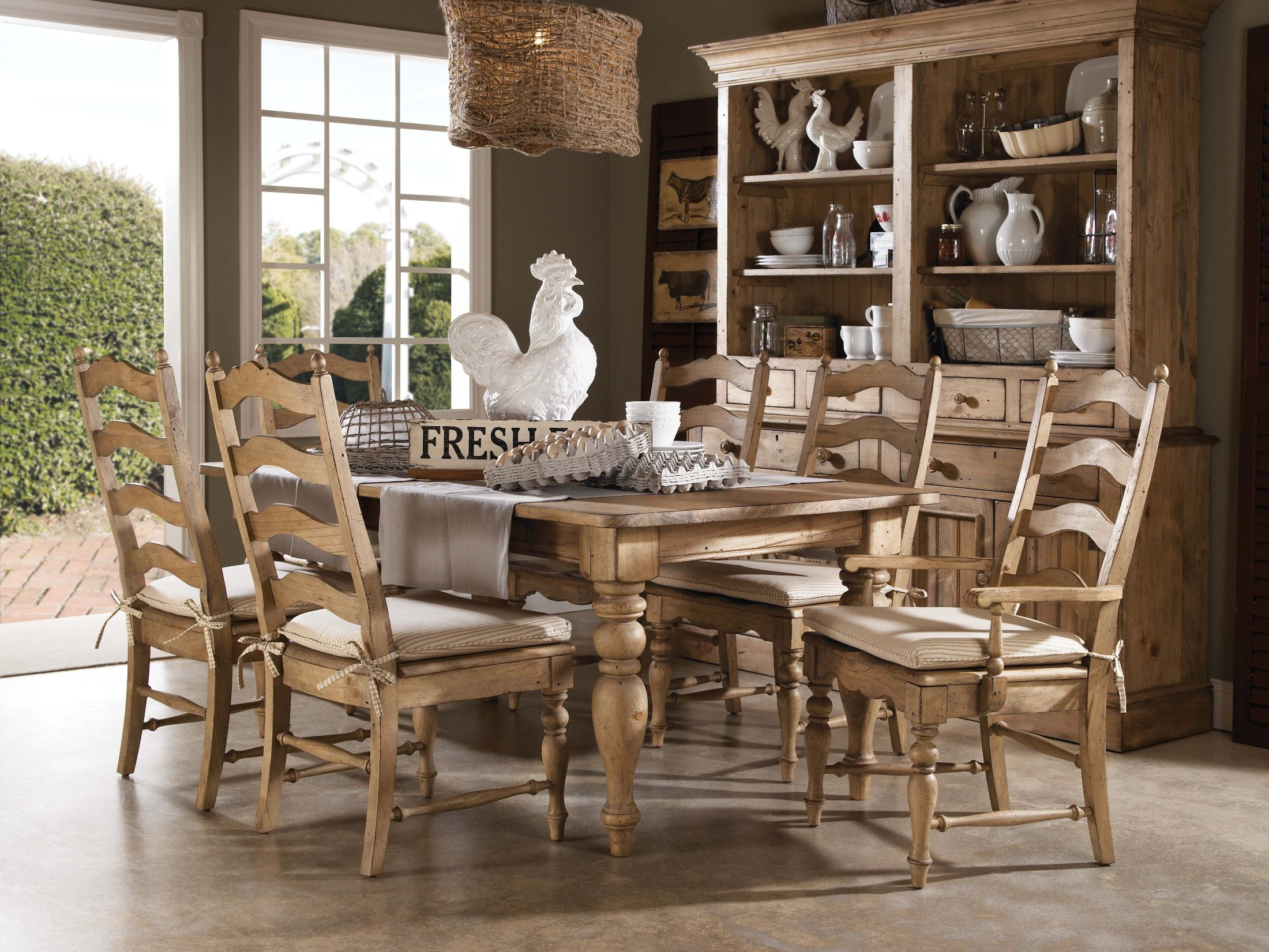 Homecoming vintage pine farmhouse leg dining room set from for Antique dining room sets