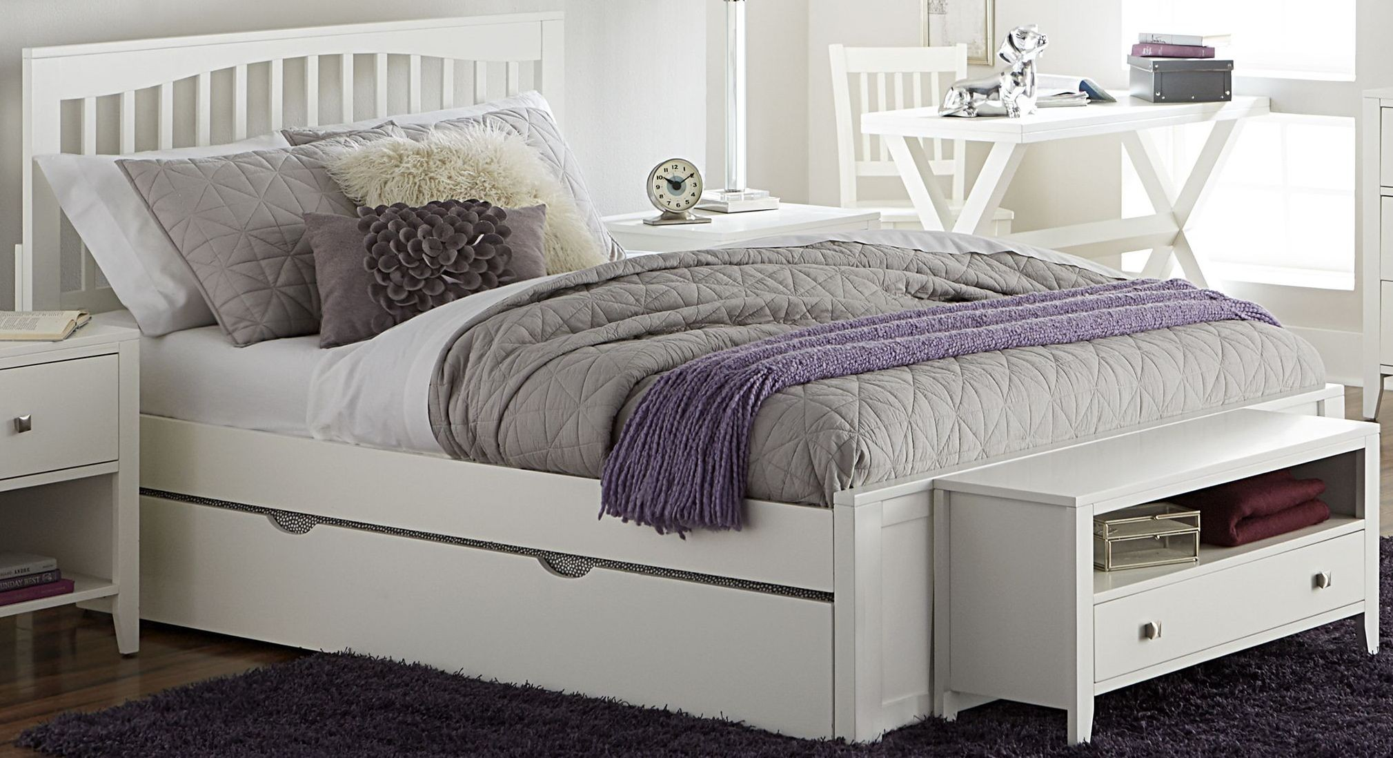 Pulse White Mission Queen Panel Bed With Trundle 33013nt