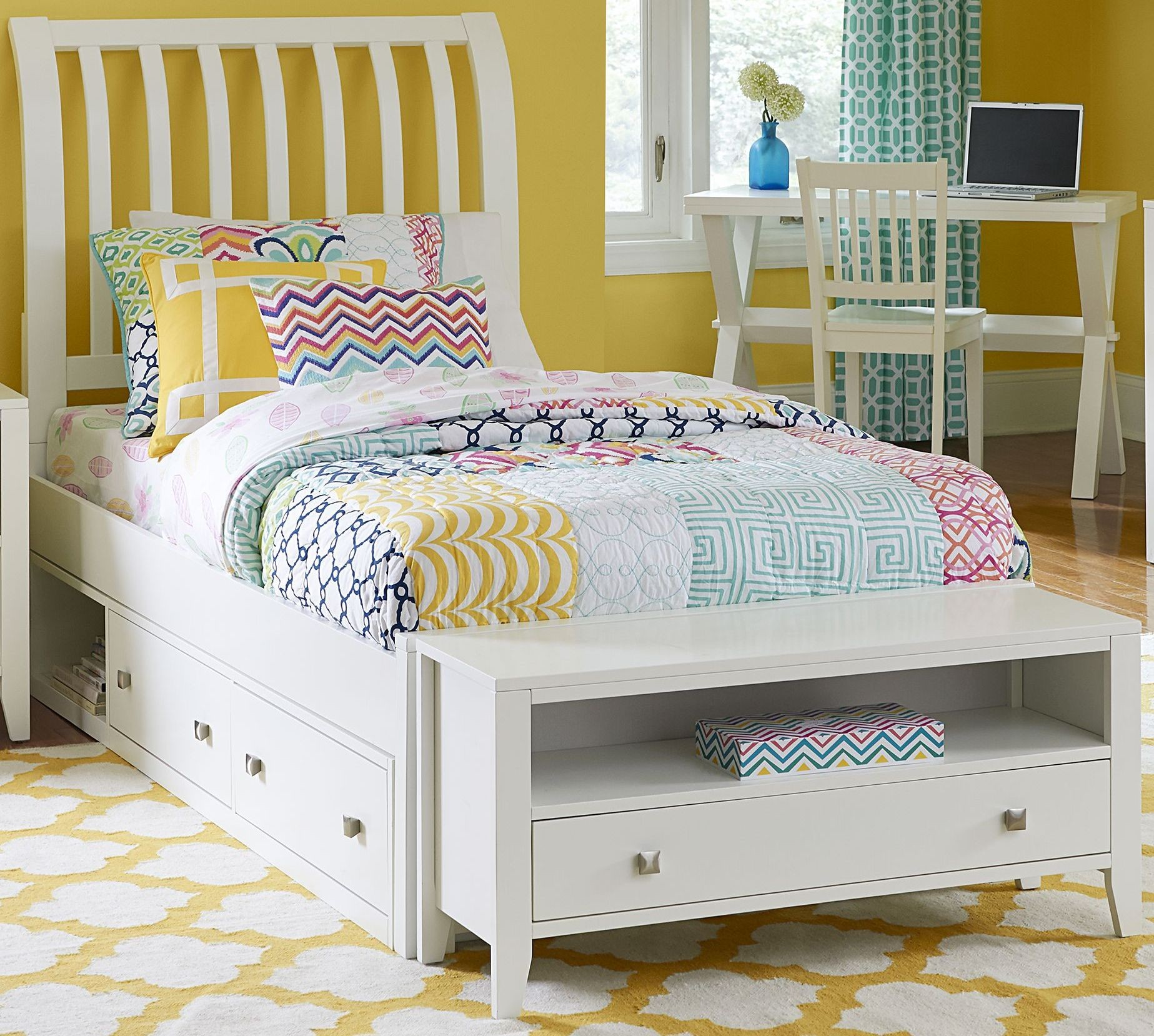 pulse white rake twin sleigh bed with storage 33031ns ne kids. Black Bedroom Furniture Sets. Home Design Ideas