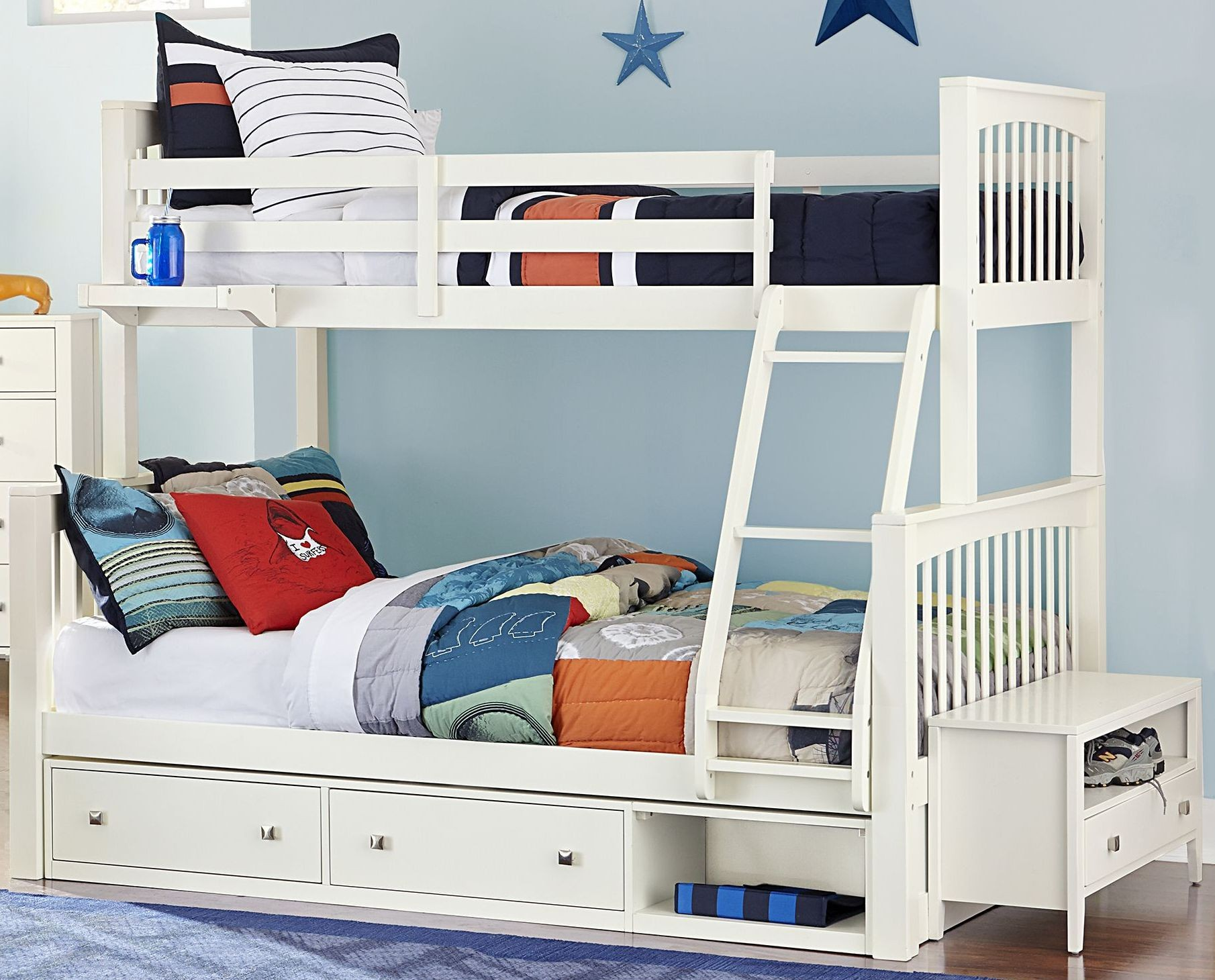 pulse white twin over full bunk bed with storage 33050ns ne kids. Black Bedroom Furniture Sets. Home Design Ideas