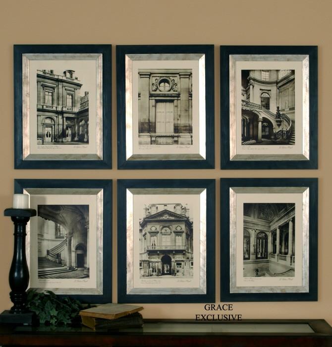 Paris scene framed art set of 6 from uttermost 33430 for Best black and white prints