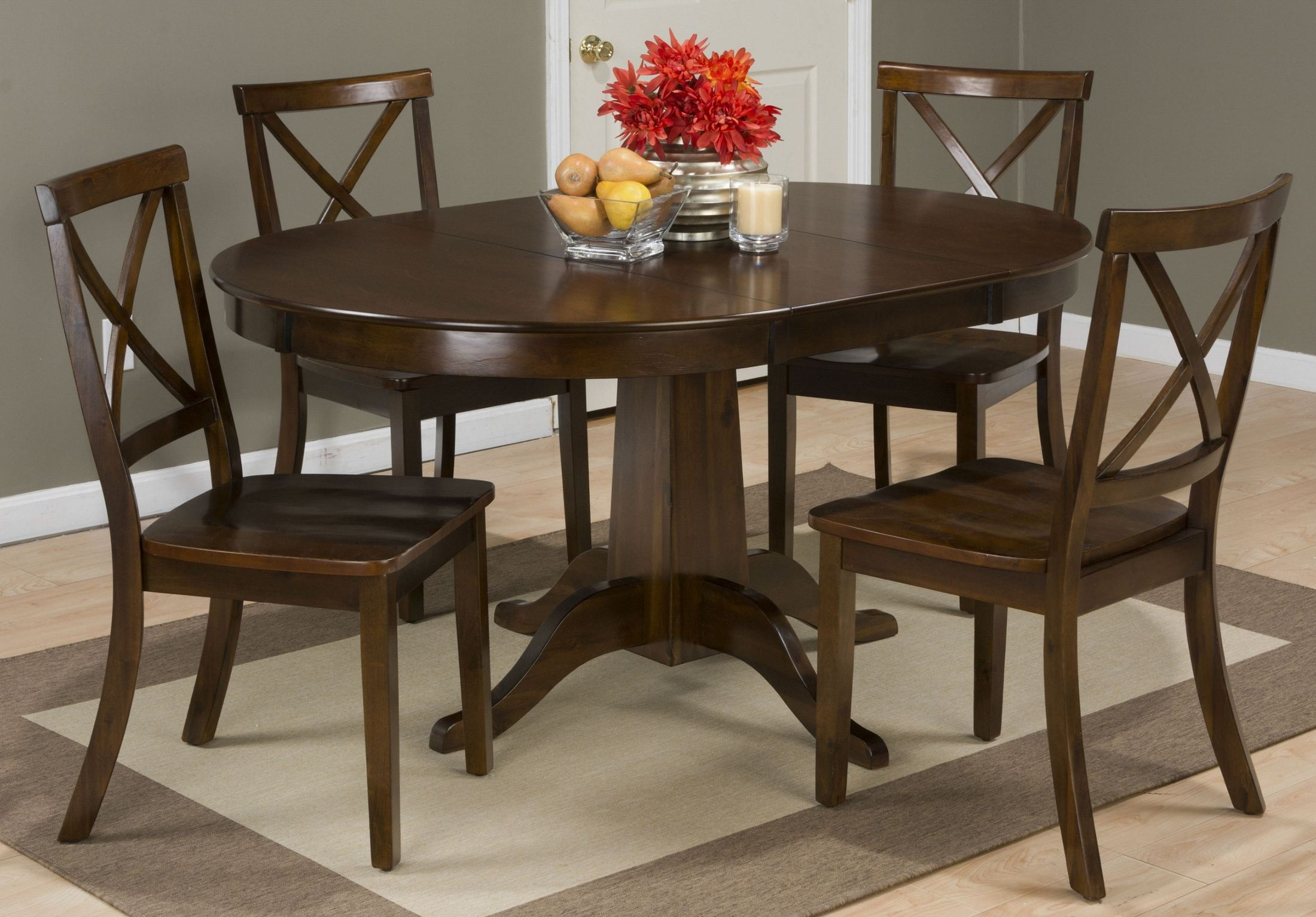 cherry extendable round to oval dining room set 342 60tbkt jofran