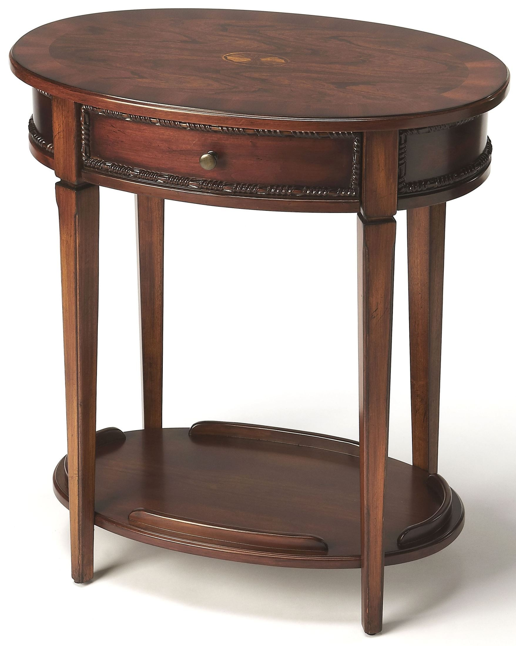 Adelaide antique cherry oval side table 3425011 butler for Cherry side table
