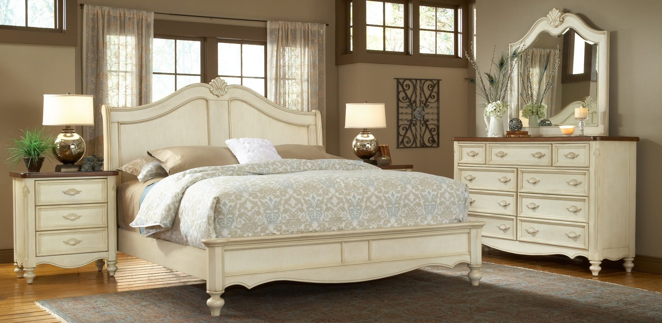 chateau sleigh bedroom set from american woodcrafters 3501 50sle coleman furniture. Black Bedroom Furniture Sets. Home Design Ideas