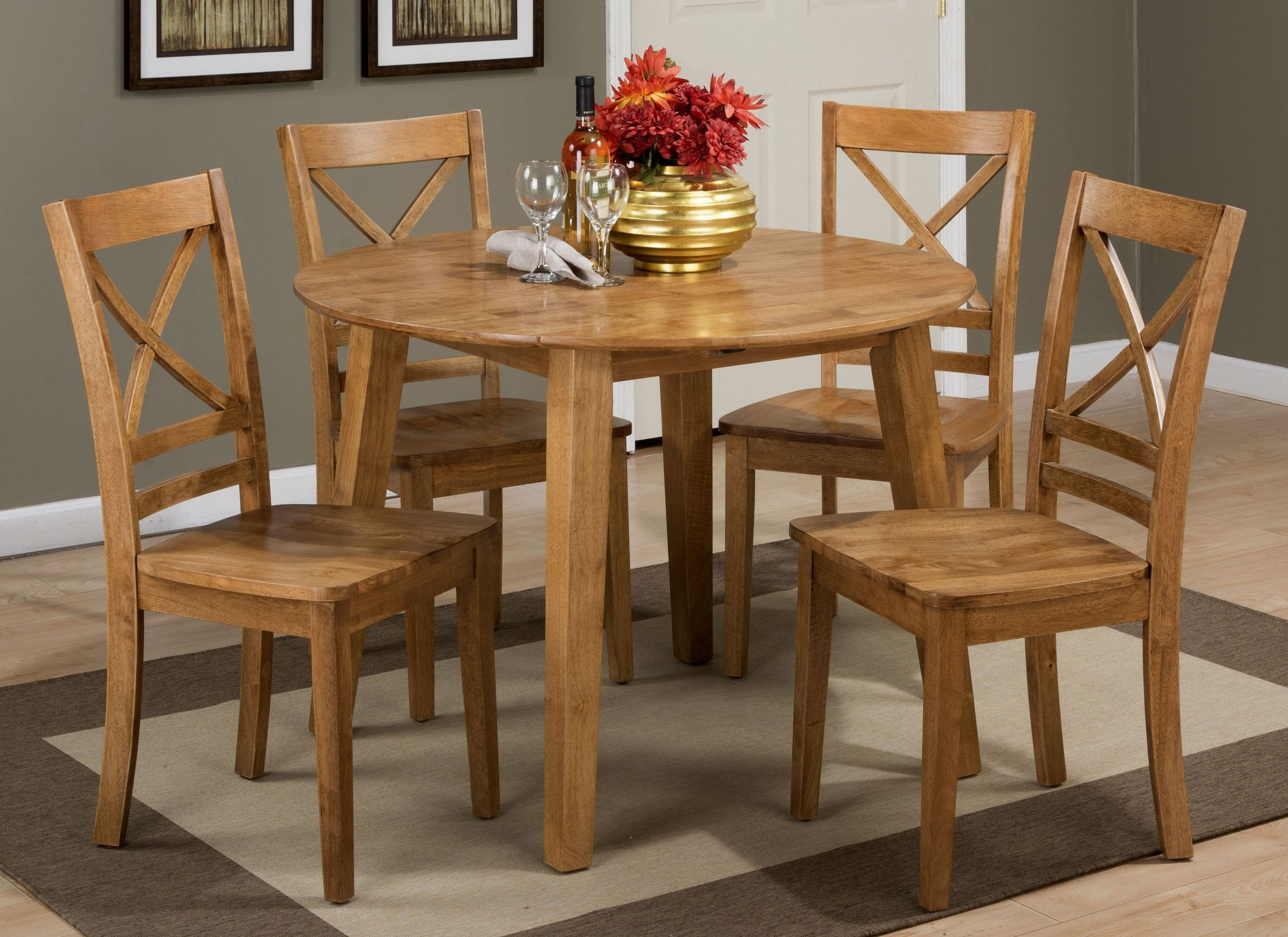 Simplicity honey extendable round drop leaf dining room for Round dining set with leaf