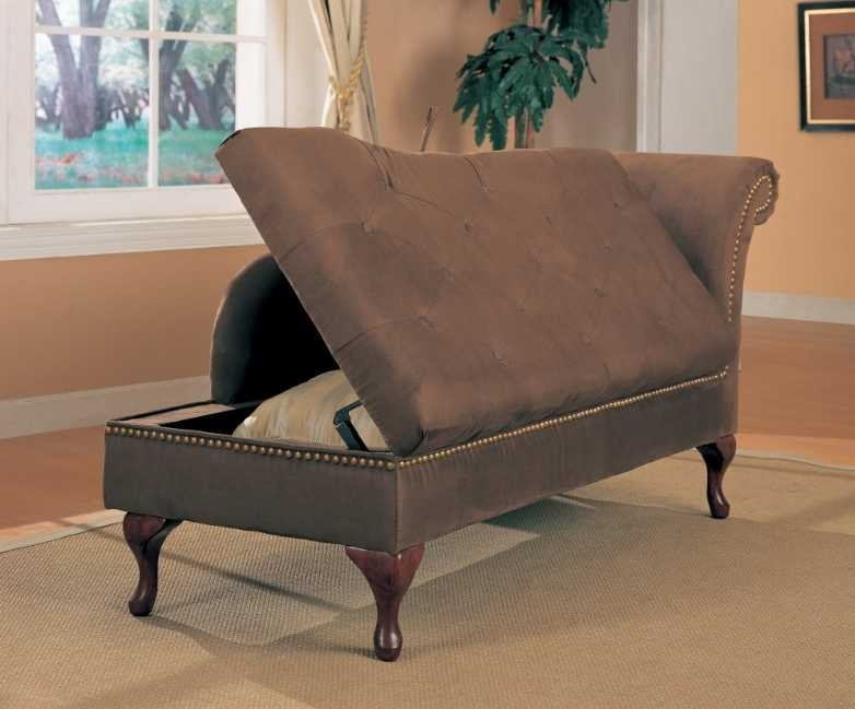 Chaise lounger in brown microfiber 550068 from coaster for Brown microfiber chaise lounge