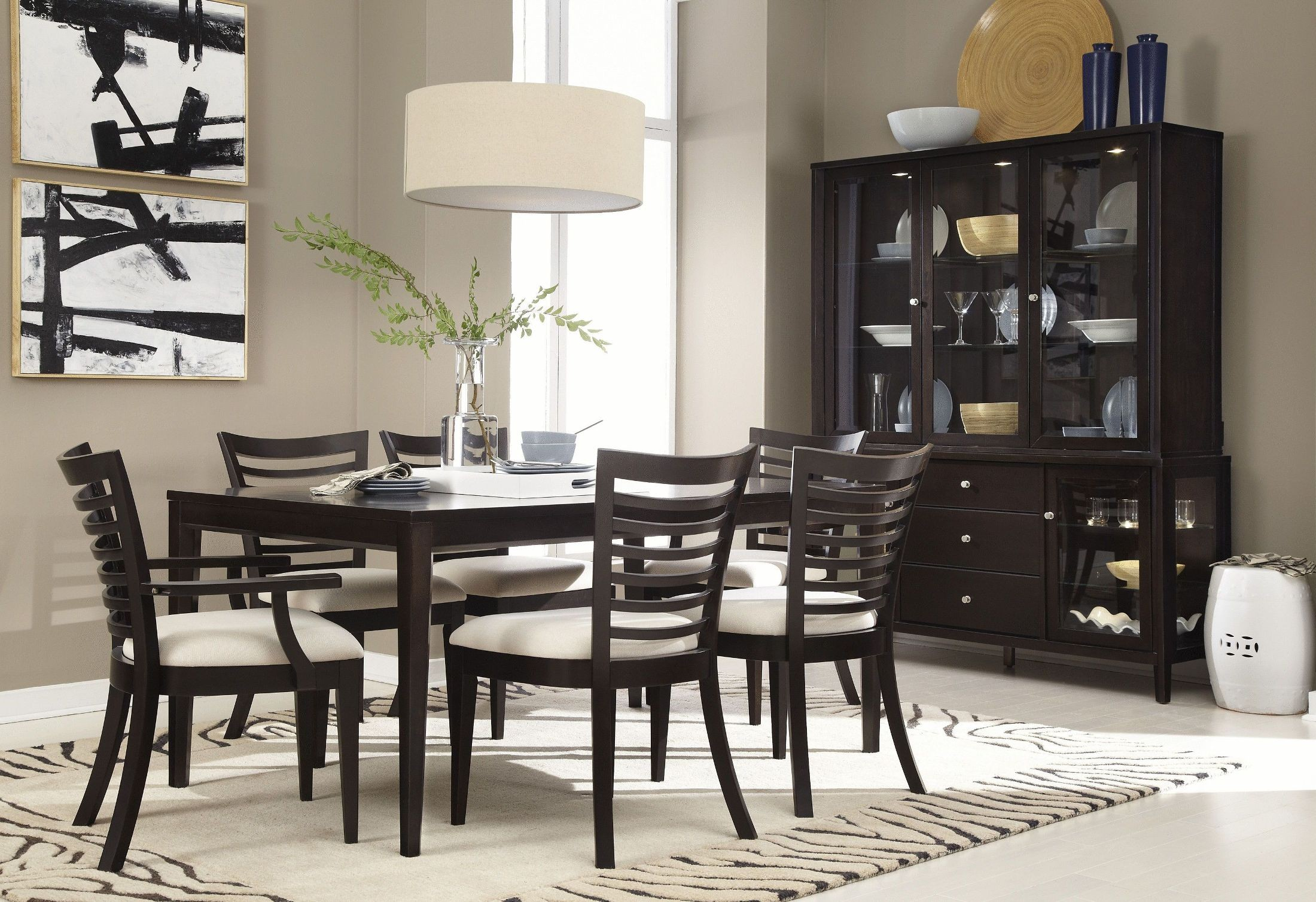Beckett brown 7 piece dining room set 355 150k7p casana for 7 piece dining room set