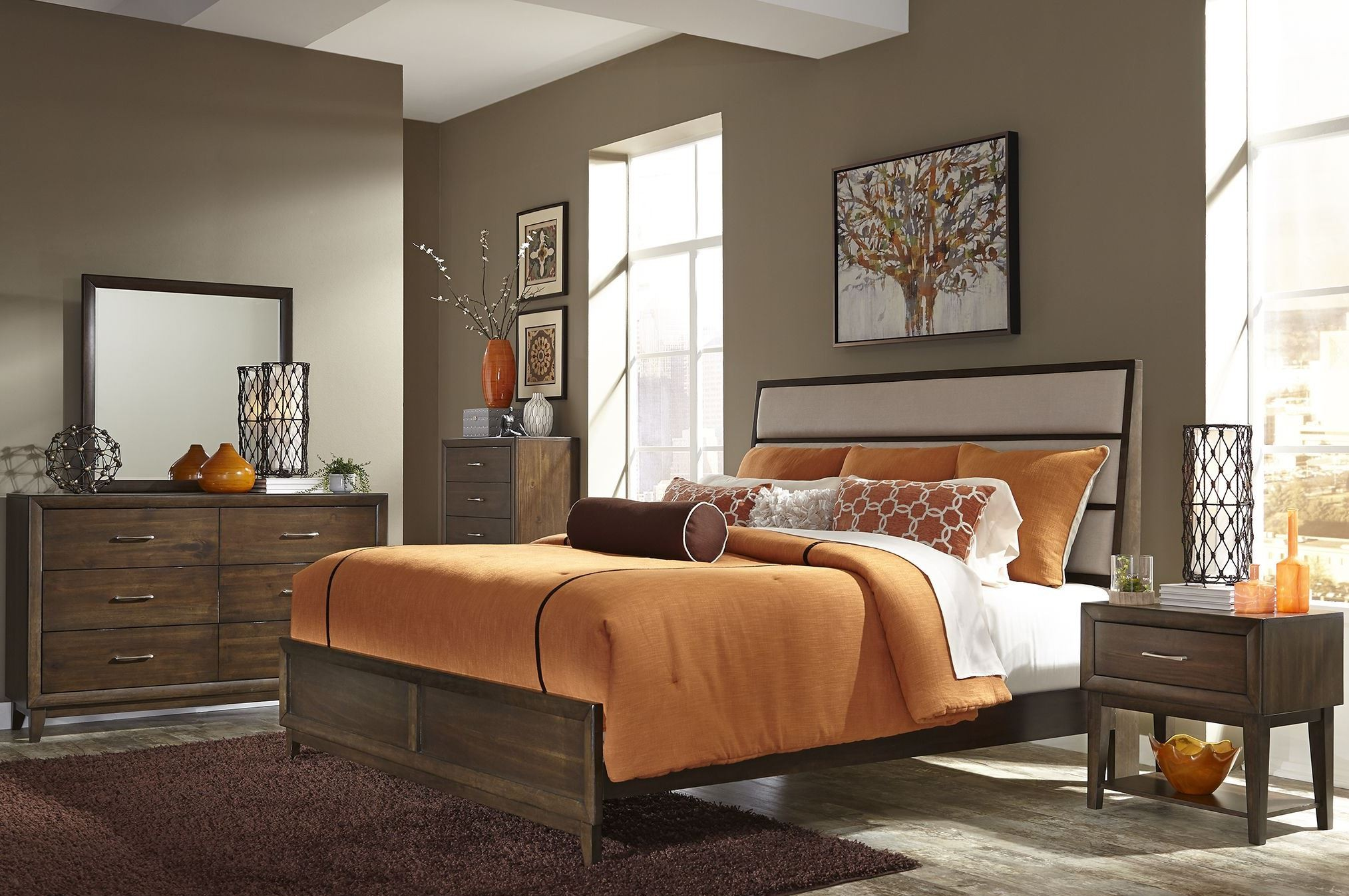 Square Bedroom Furniture ~ Hudson square espresso panel bedroom set br qpb liberty