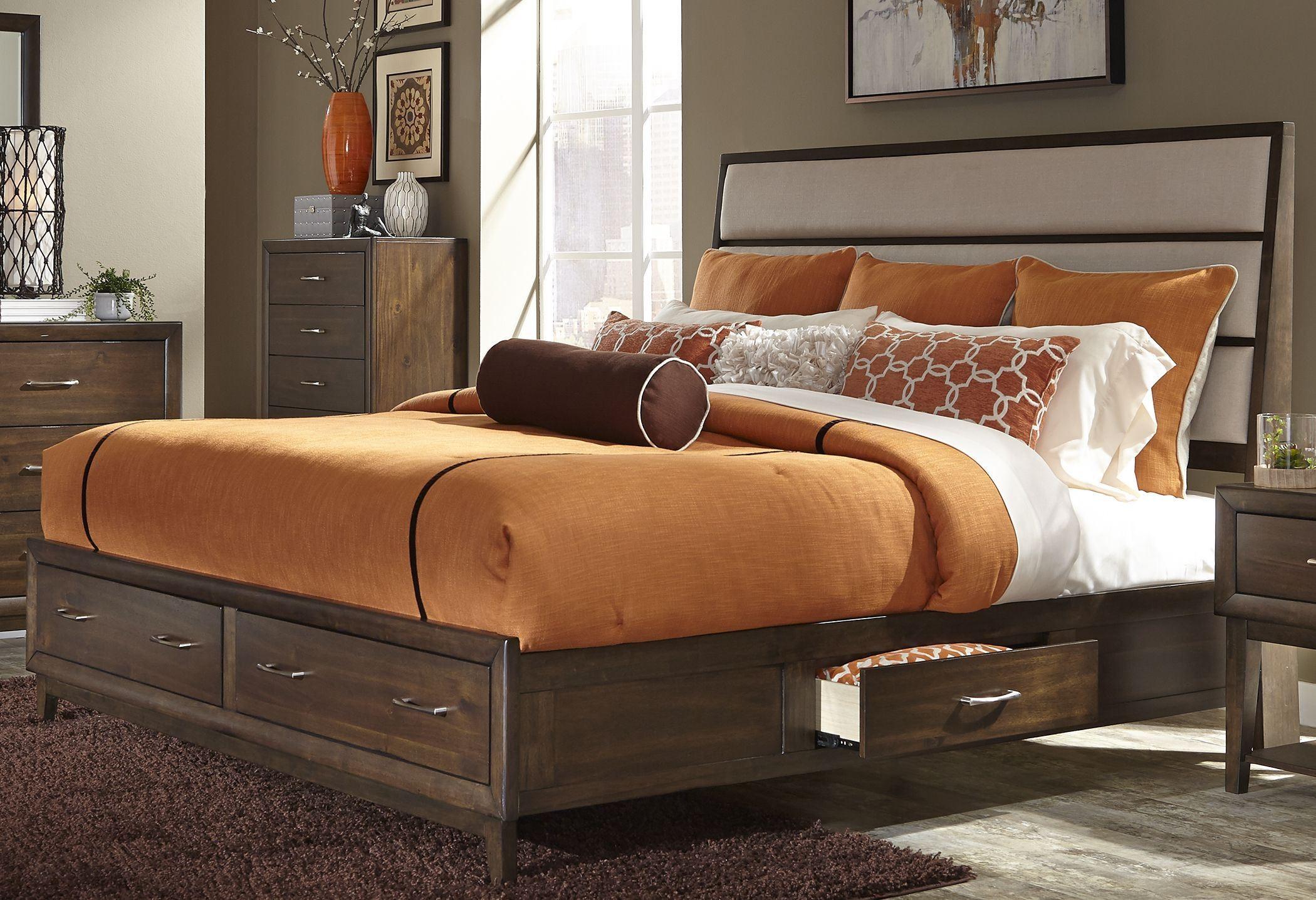 Hudson Square Espresso Panel Storage Bedroom Set 365 Br Qsb Liberty