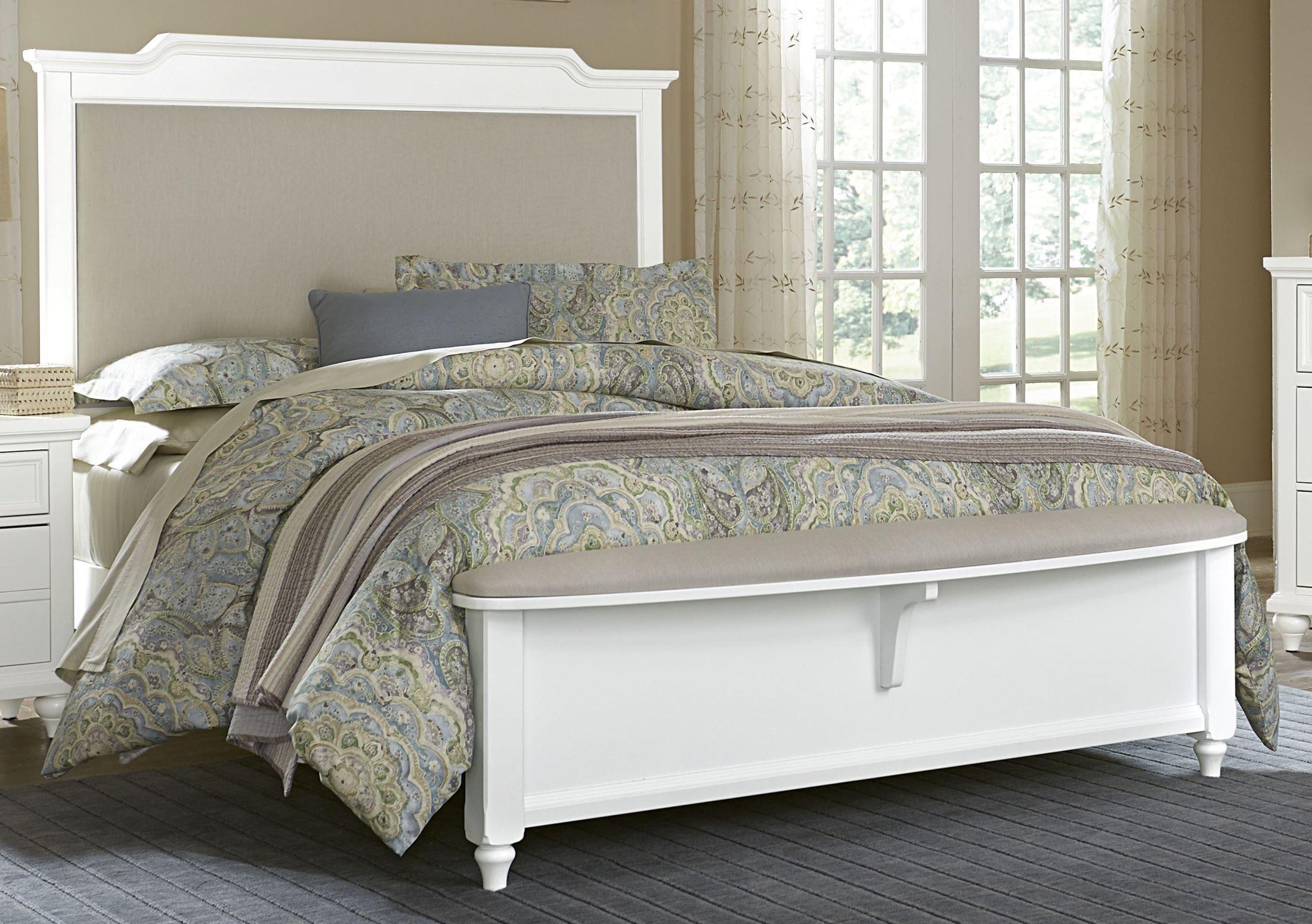 Nantucket soft white queen upholstered upholstered bench bed 374 551 955 922 vaughan bassett White bed bench