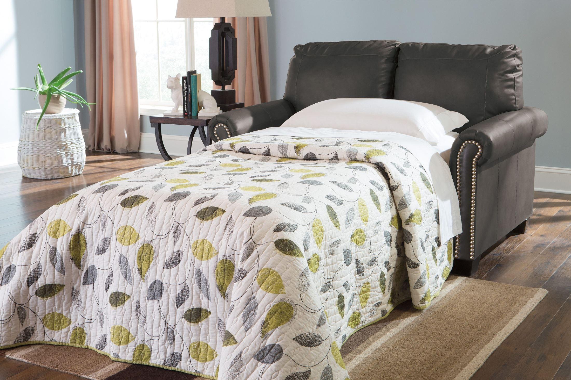 Lottie Durablend Slate Twin Sofa Sleeper From Ashley