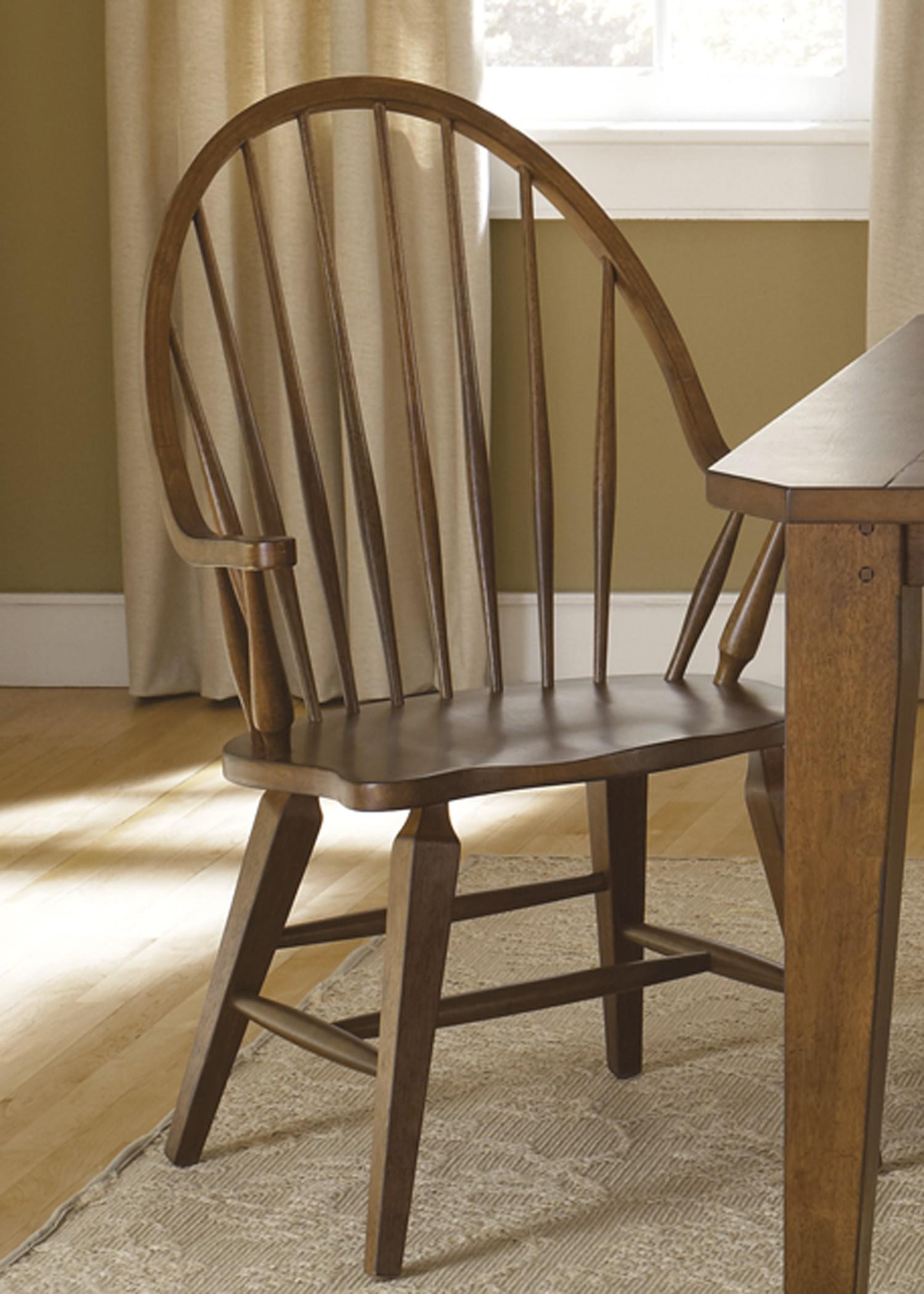 Hearthstone rustic oak windsor back arm chair from liberty