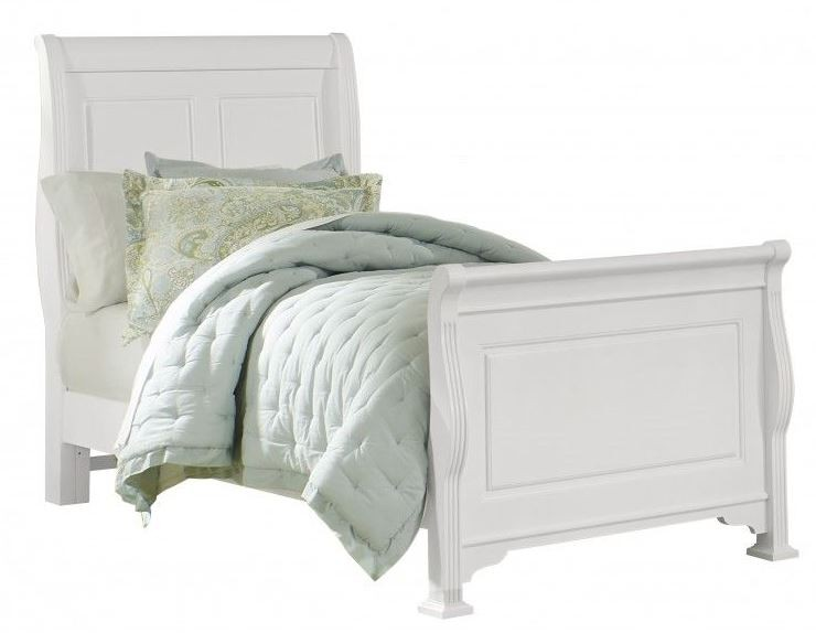 French Market Soft White Twin Sleigh Bed From Vaughan