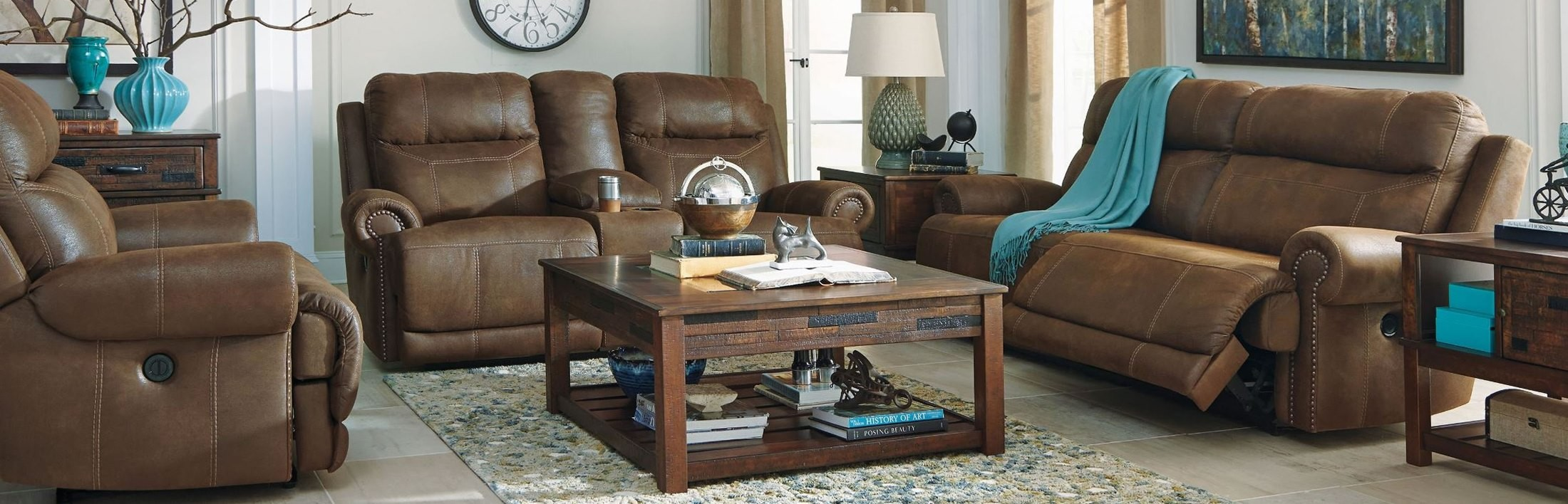 Austere Brown Reclining Living Room Set From Ashley 3840047 Coleman Furni