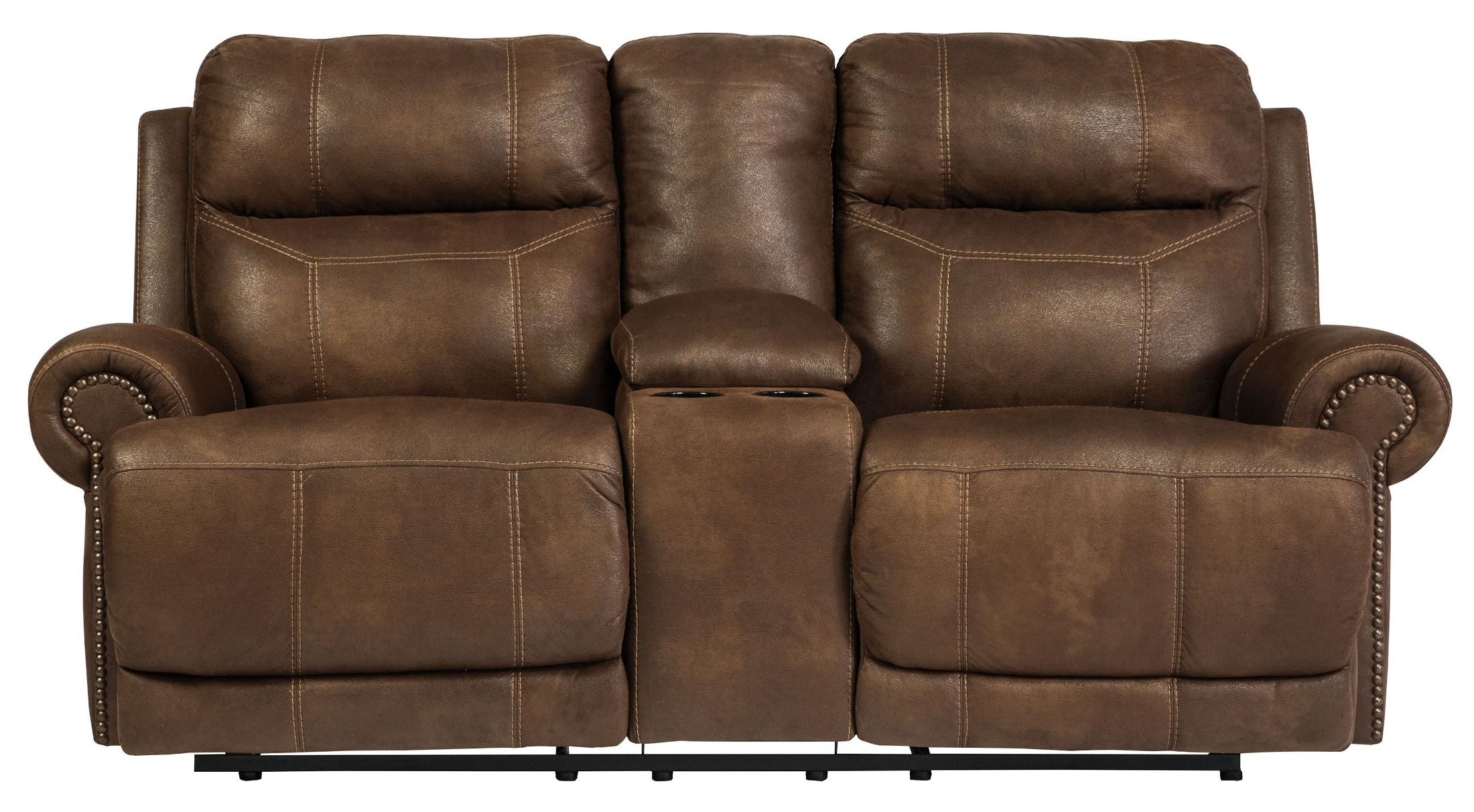 Austere Brown Double Reclining Loveseat With Console From Ashley 3840094 Coleman Furniture
