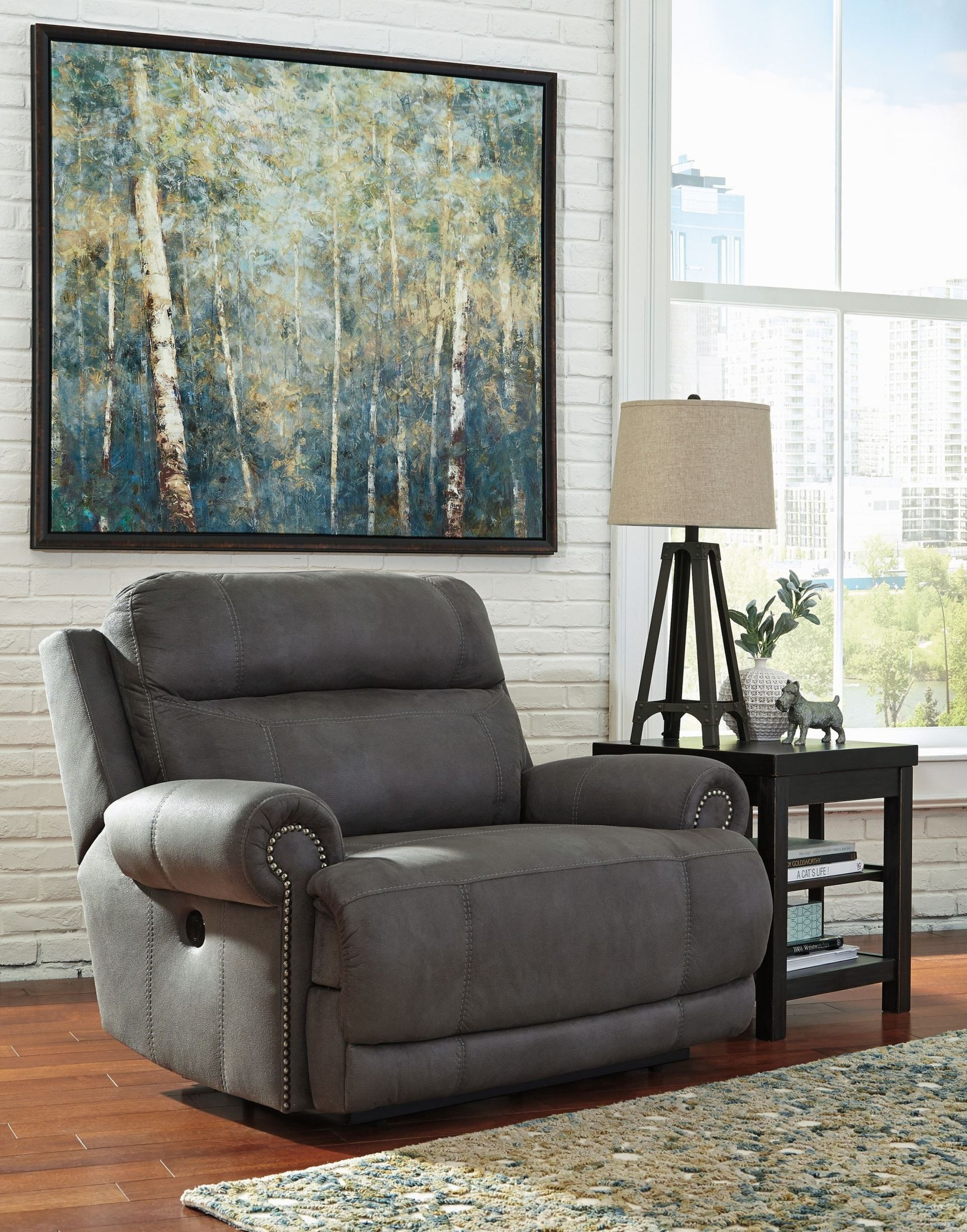 Austere Gray Zero Wall Wide Seat Recliner From Ashley