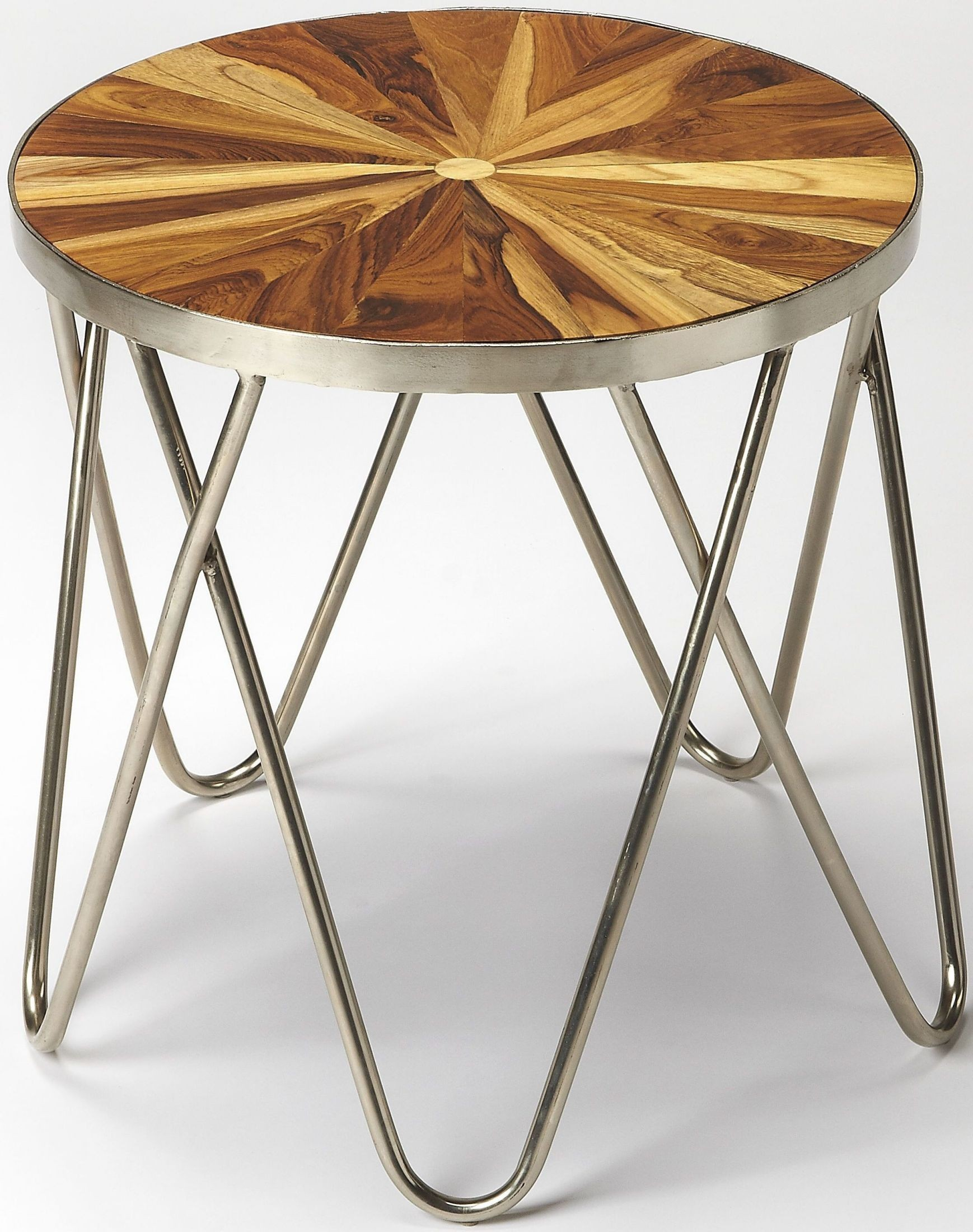 Butler loft hairpin iron and wood end table