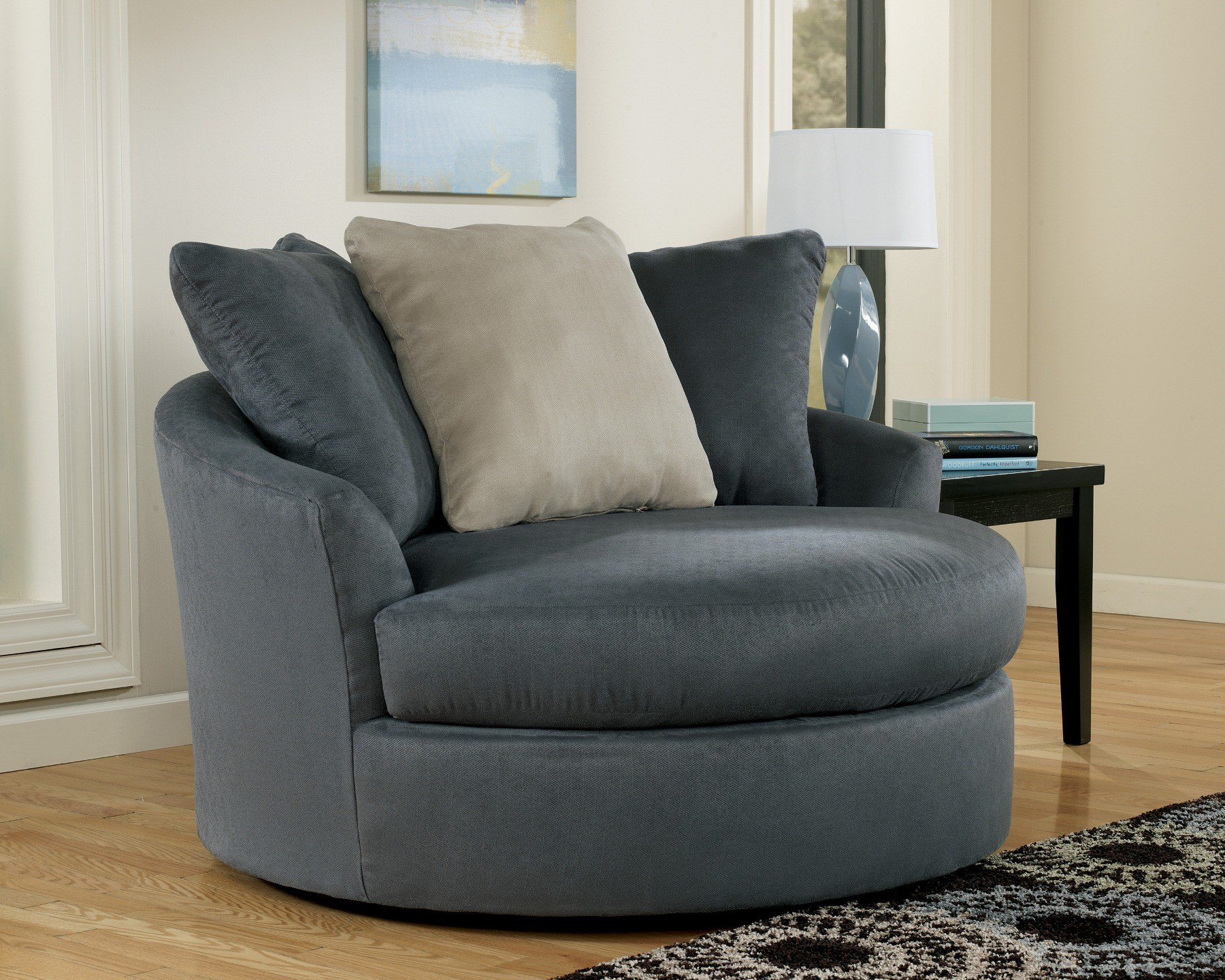 Ashley Mindy Indigo Oversized Round Swivel Chair