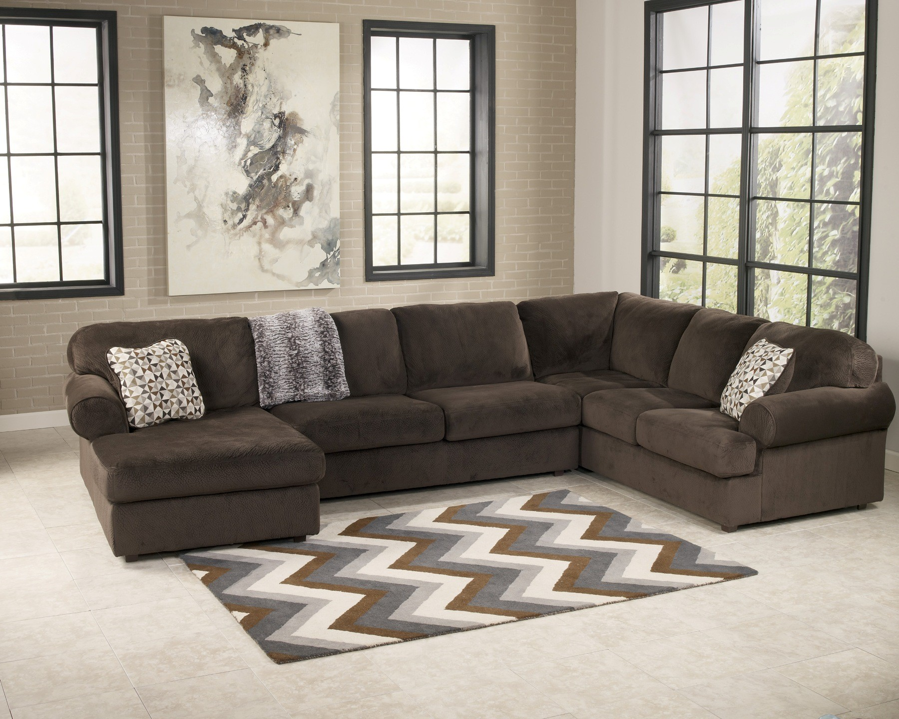 Jessa place chocolate left arm facing sectional from for Ashley furniture leather sectional with chaise