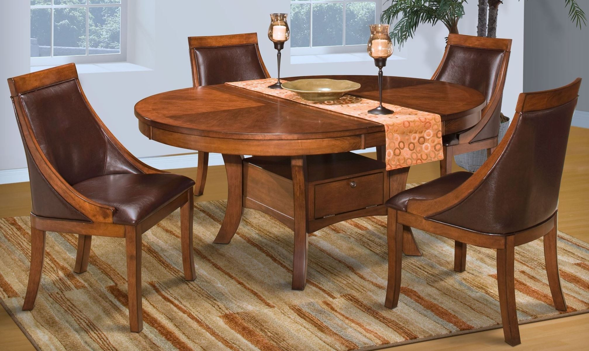 Aspen Round Extendable Dining Room Set From New Classics 40 116 11 11B Co