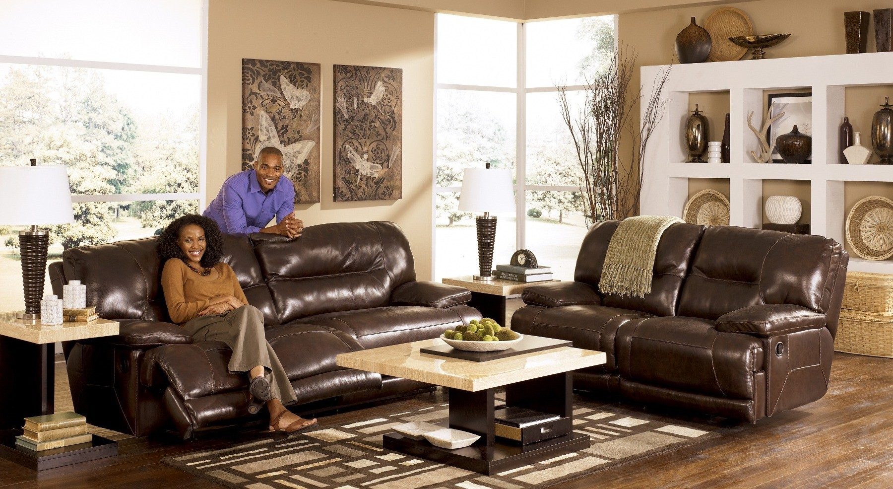 exhilaration chocolate reclining living room set from ashley 42401