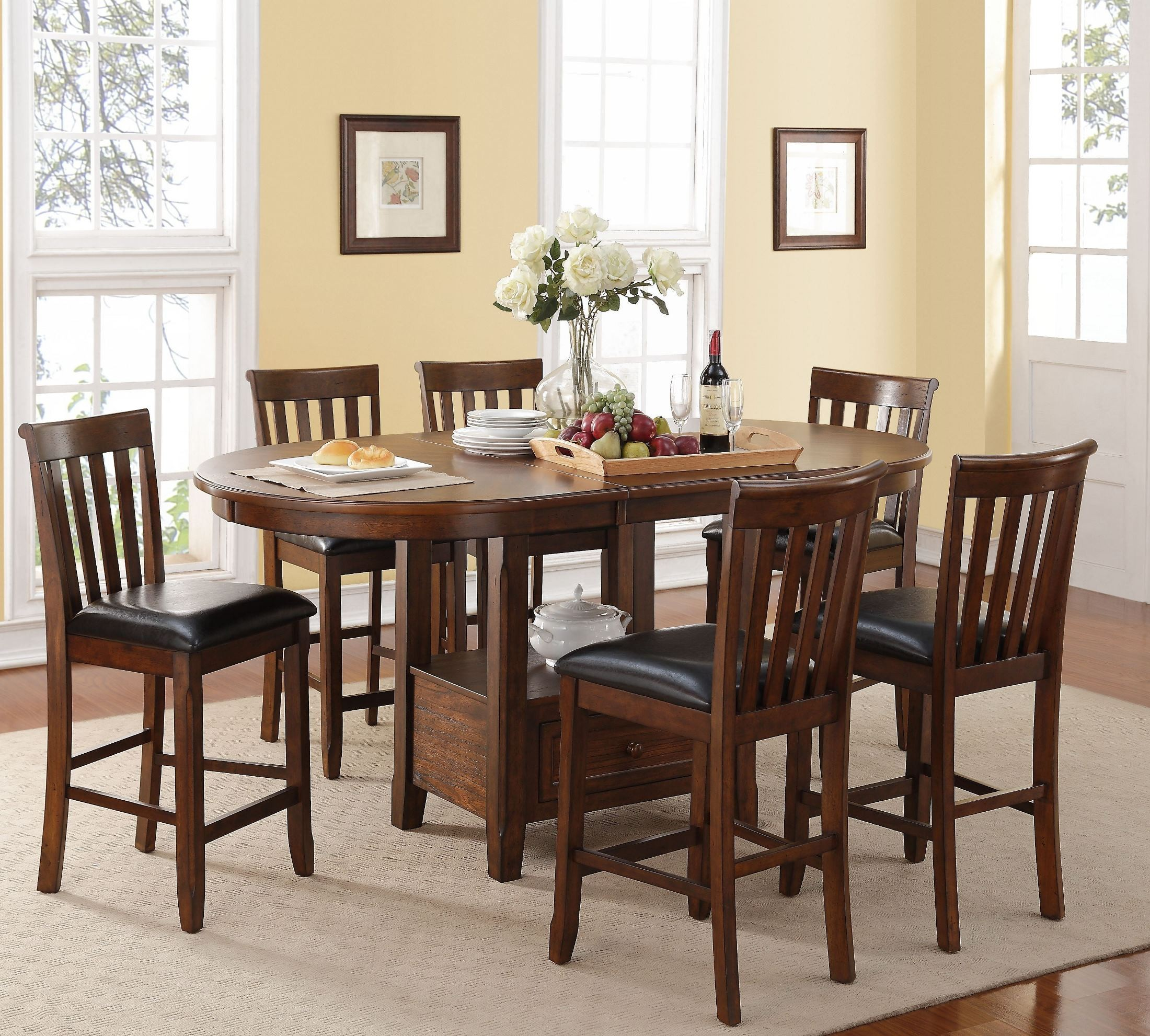 ... > Wilson Burnished Cherry Counter Height Extendable Dining Room Set