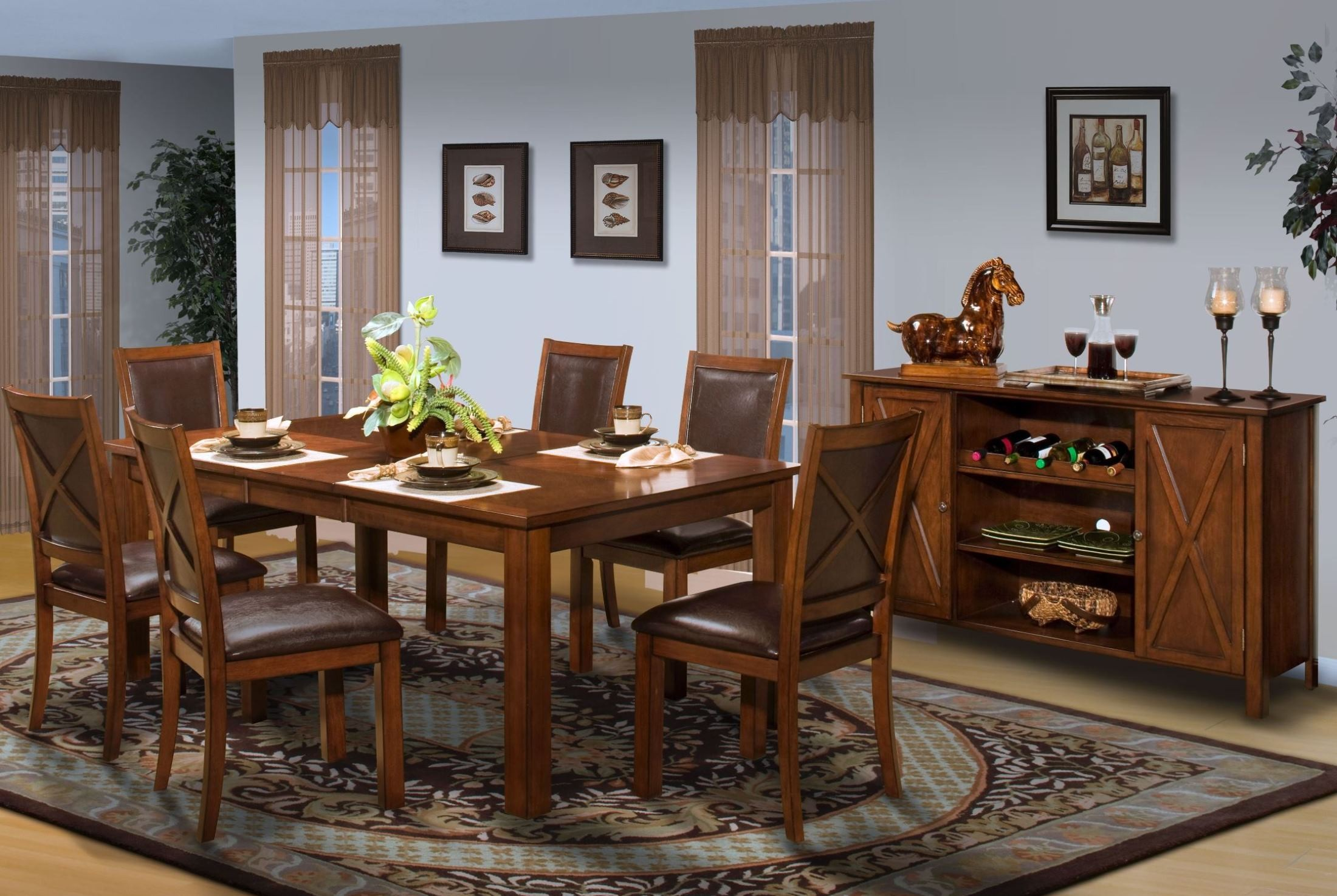 Aspen Standard Rectangular Extendable Dining Room Set From New Classics 40 1