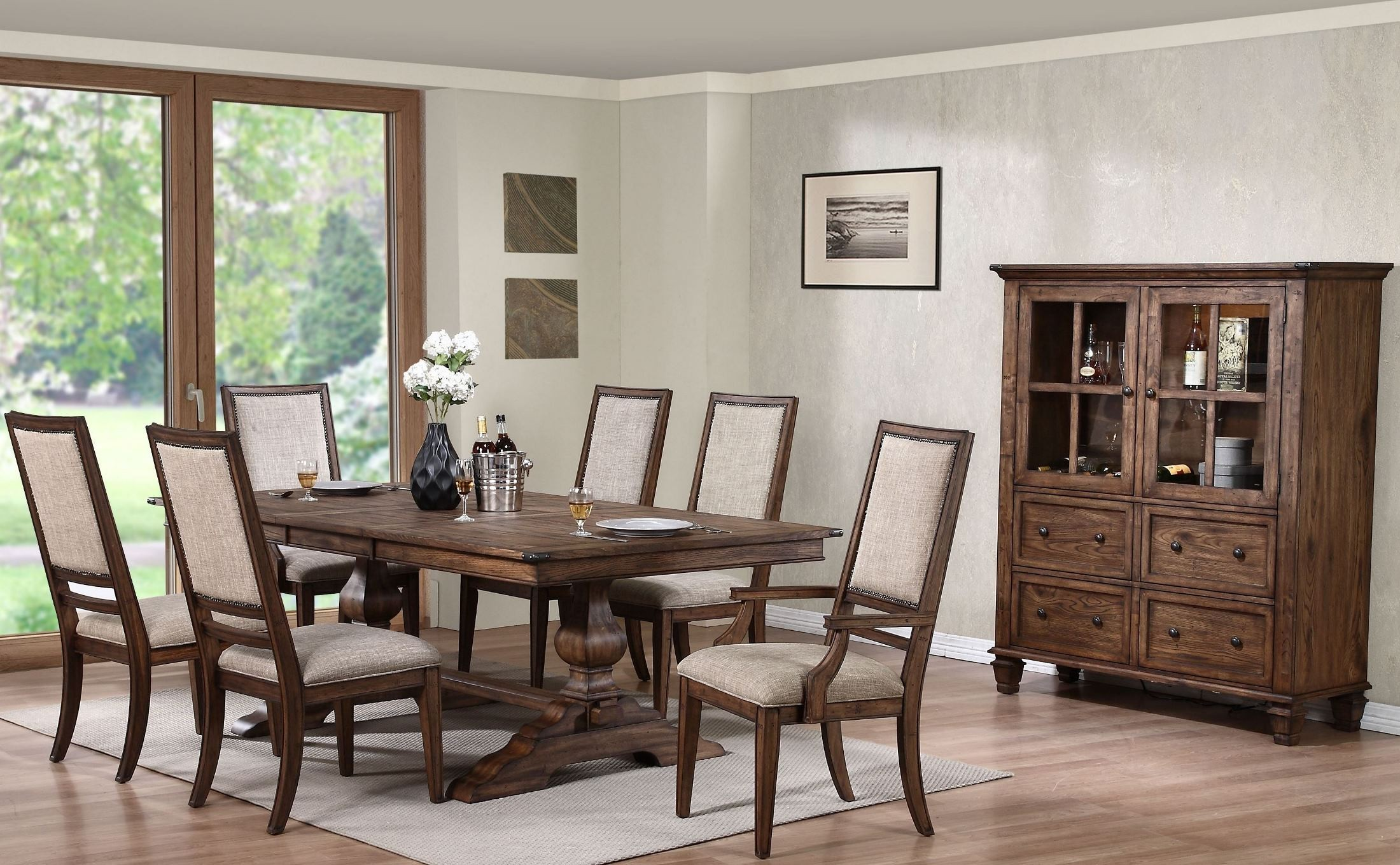 sutton manor distressed oak manor extendable dining room set d1505