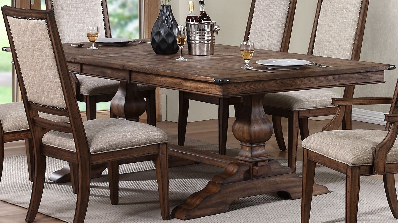 Sutton Manor Distressed Oak Manor Extendable Dining Room Set D1505 10T 10B