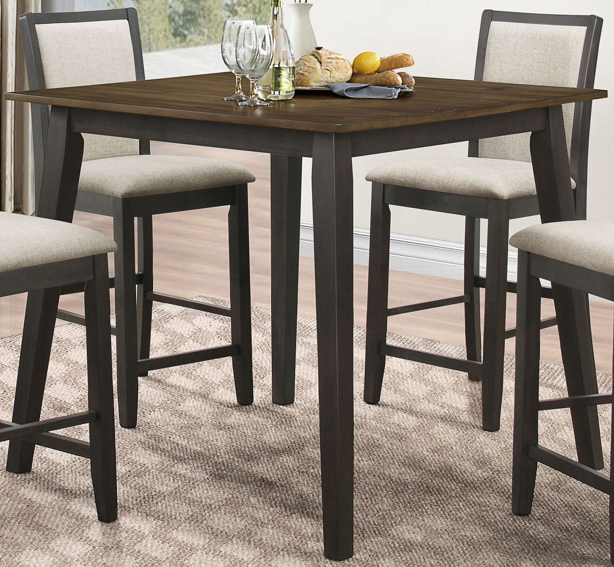 oak and black counter height dining table d2626 12 new classics