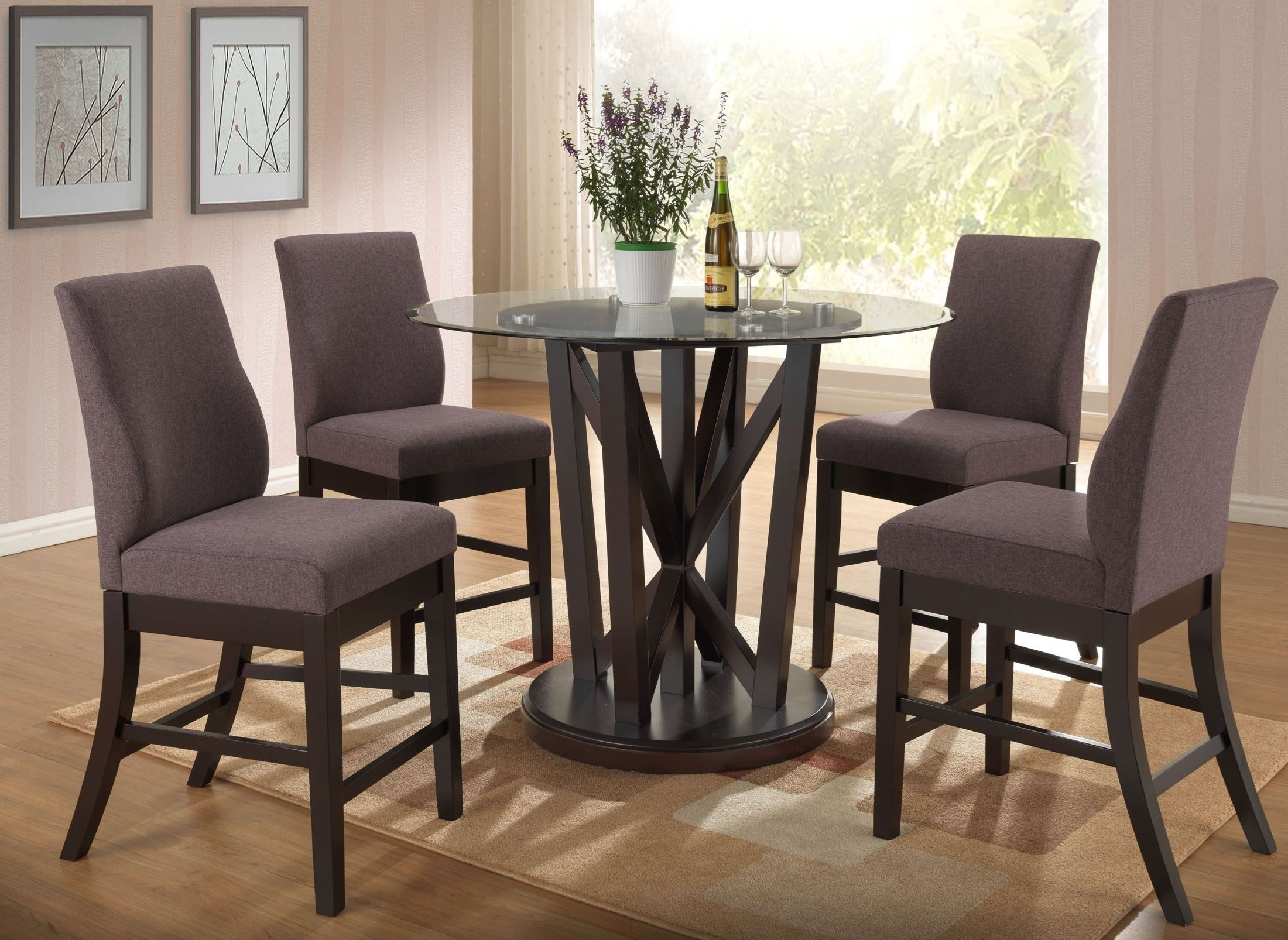 natasha cappuccino round glass counter height dining table d3972 13gt