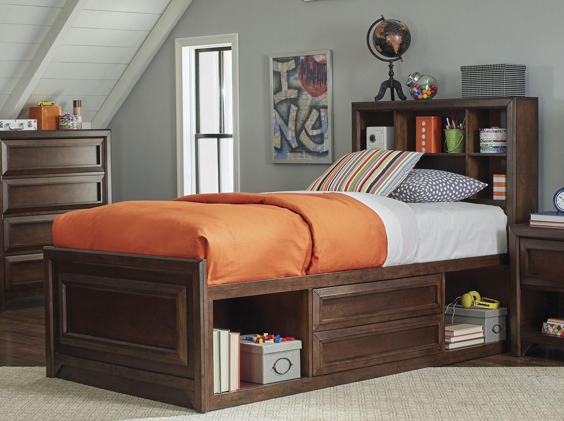 greenough maple oak storage panel bedroom set 400820t