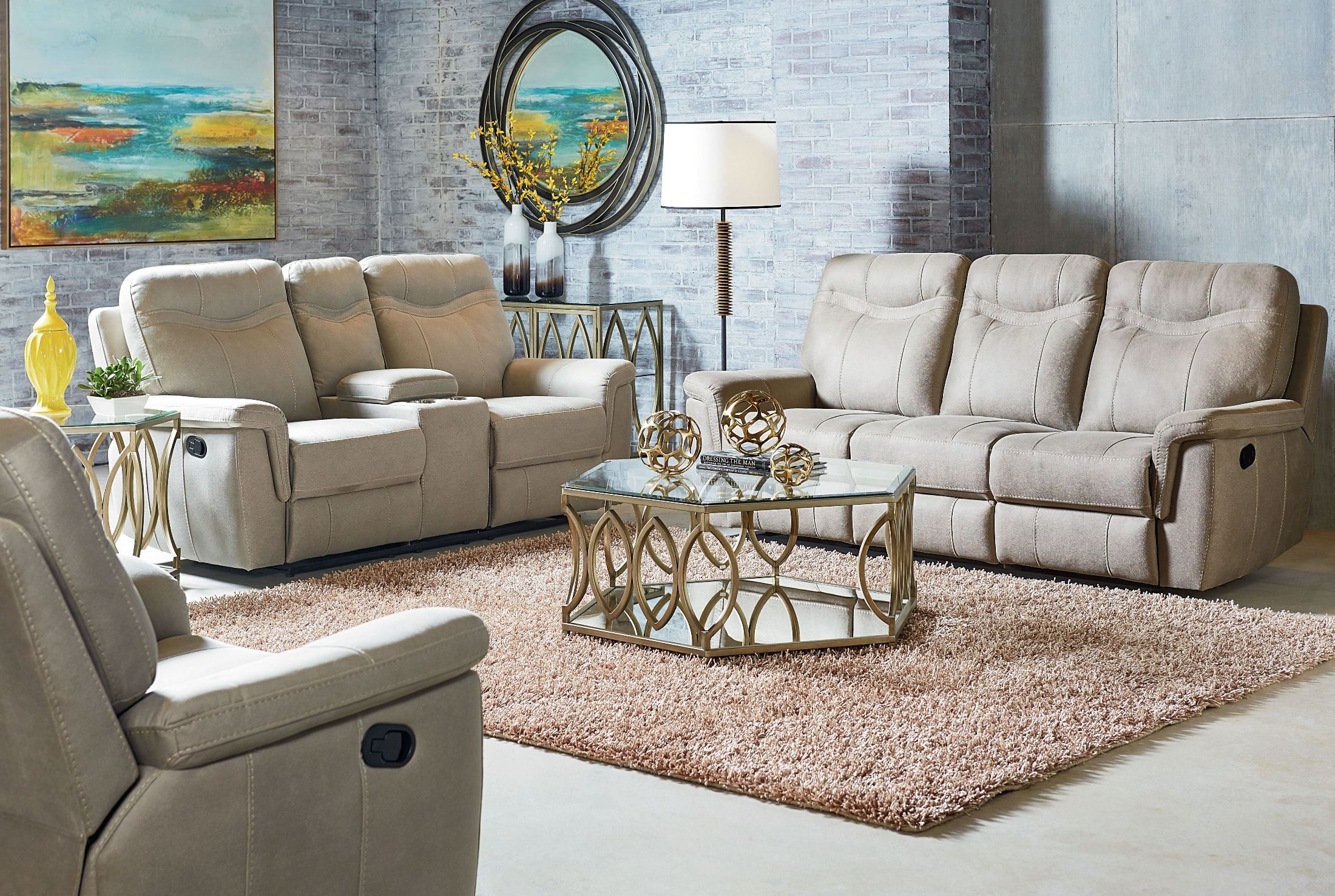 boardwalk cream reclining living room set 4017391 standard furniture