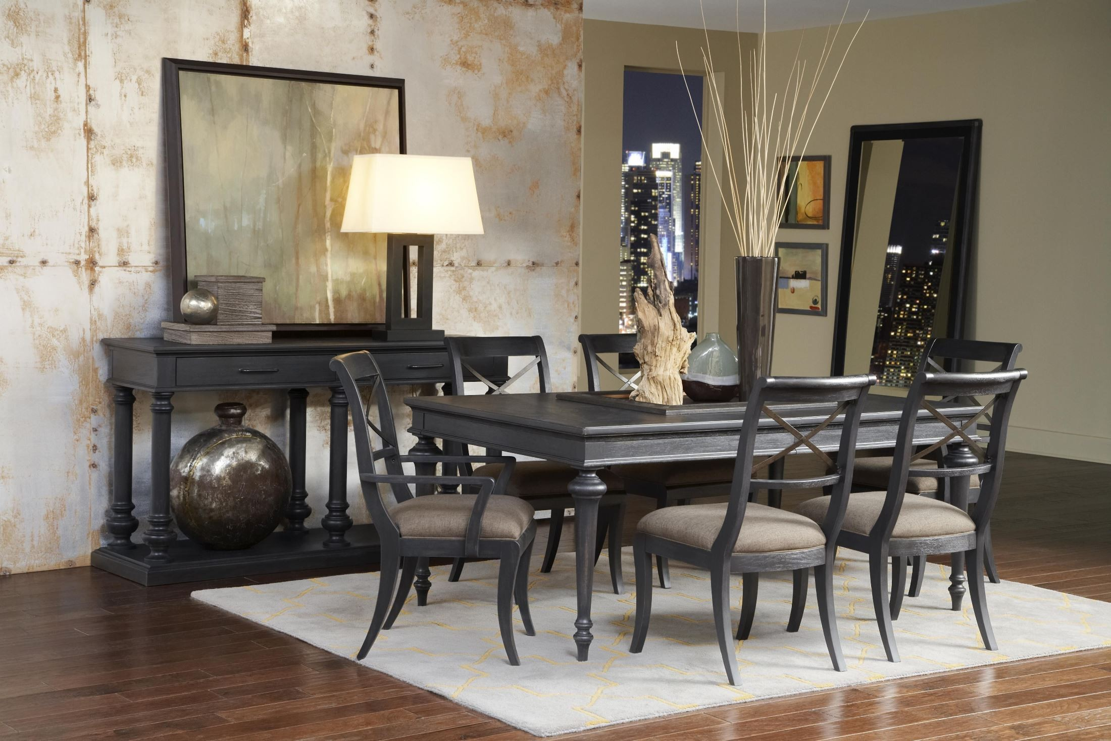 vintage tempo unique charcoal rectangular leg dining room set from