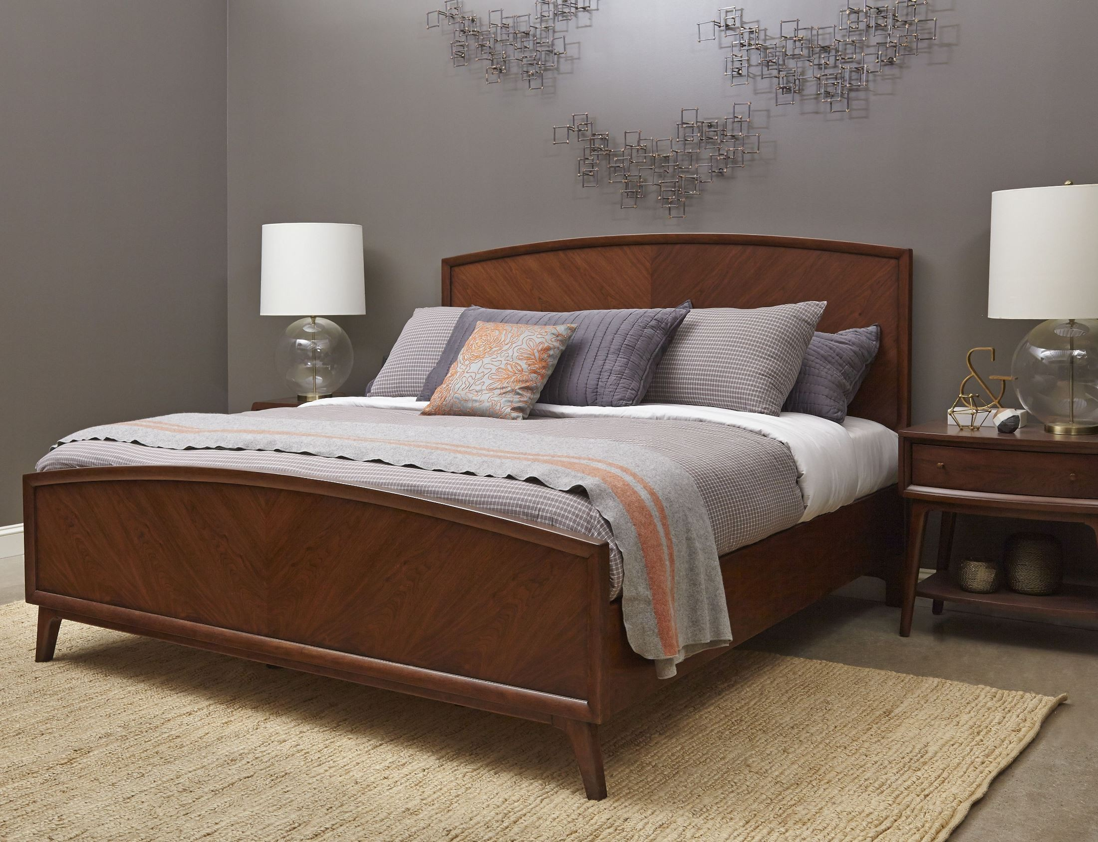 modern harmony burnished walnut panel bedroom set from pulaski 403150
