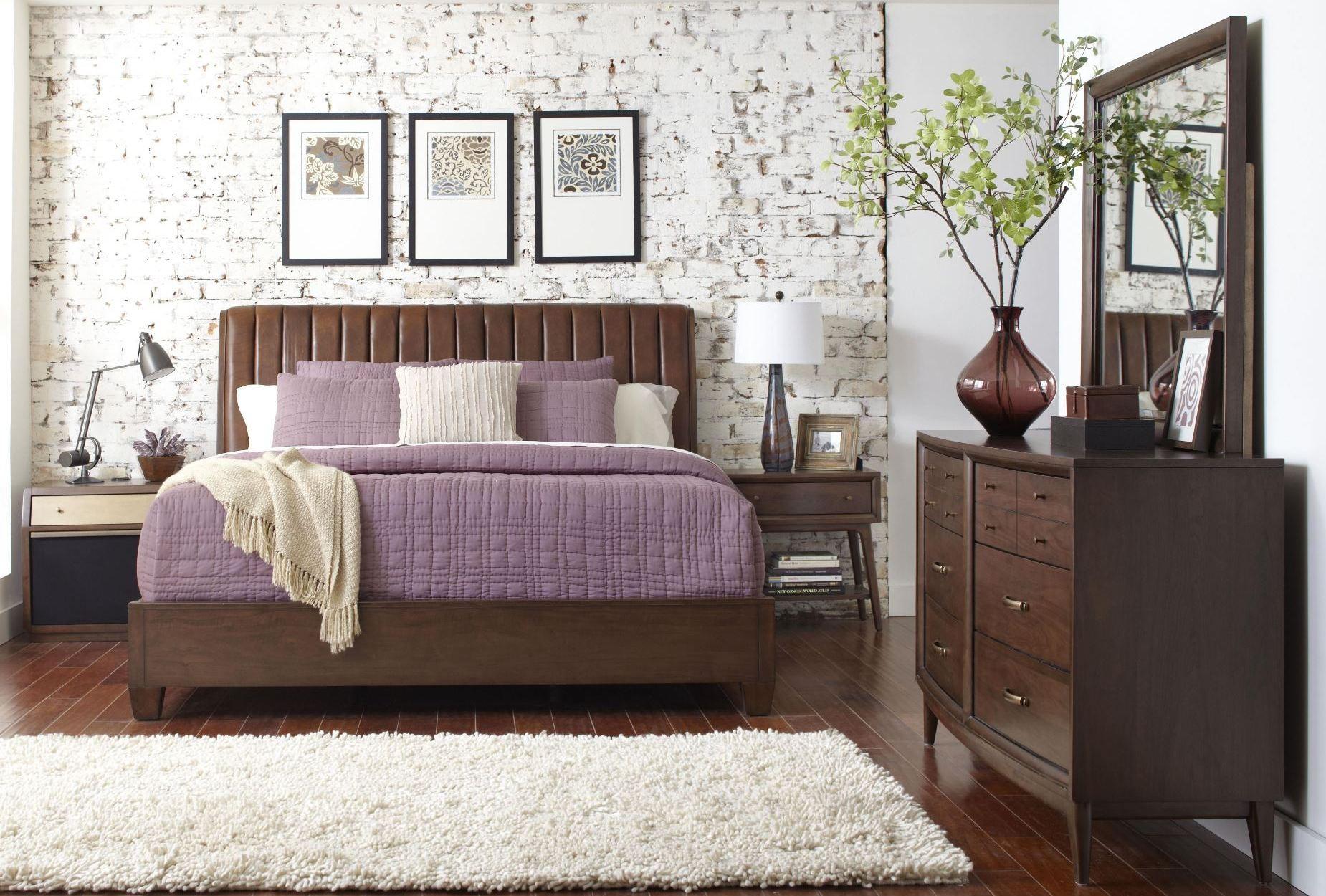modern harmony burnished walnut platform bedroom set from