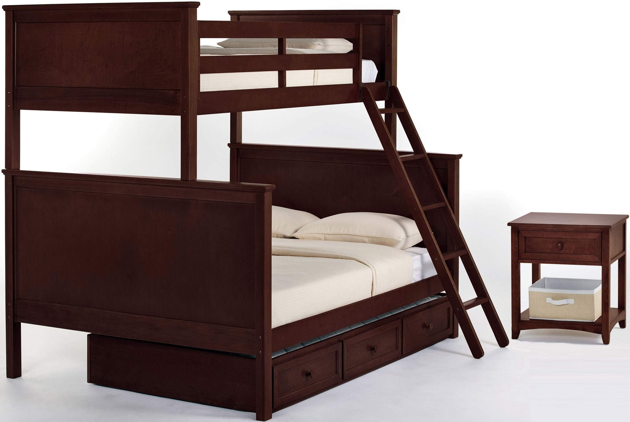 school house cherry twin over full bunk bed with trundle 4040nt ne kids. Black Bedroom Furniture Sets. Home Design Ideas