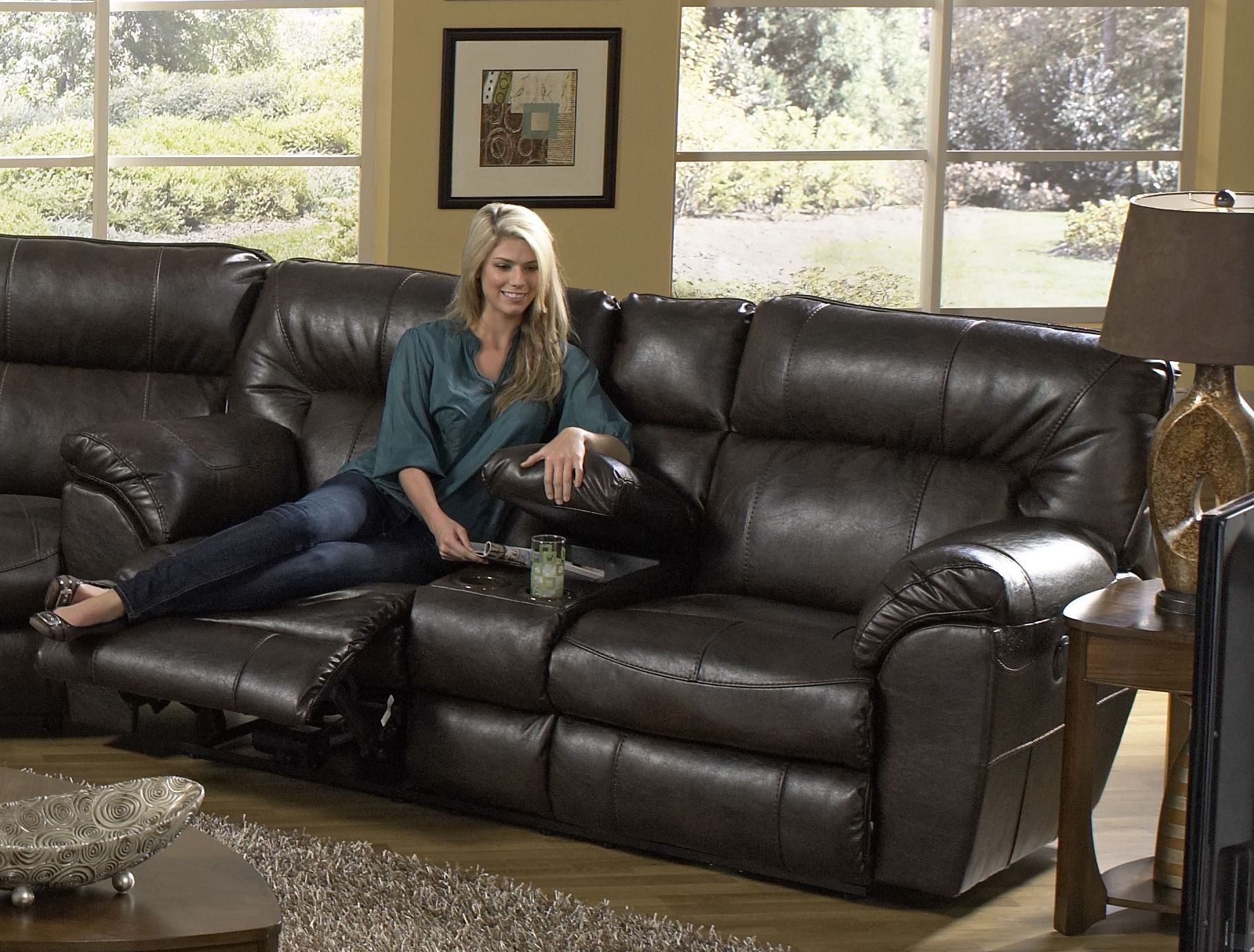 Nolan Godiva Power Reclining Loveseat With Console From