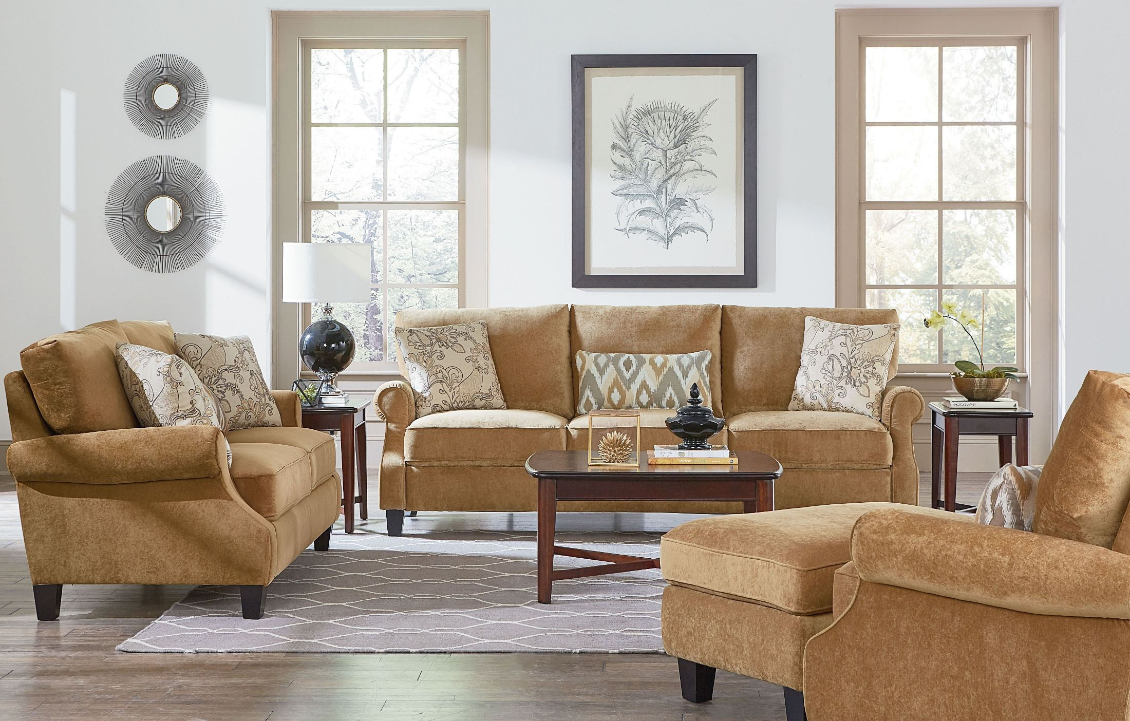 waverly antique brown living room set 4056301 standard furniture