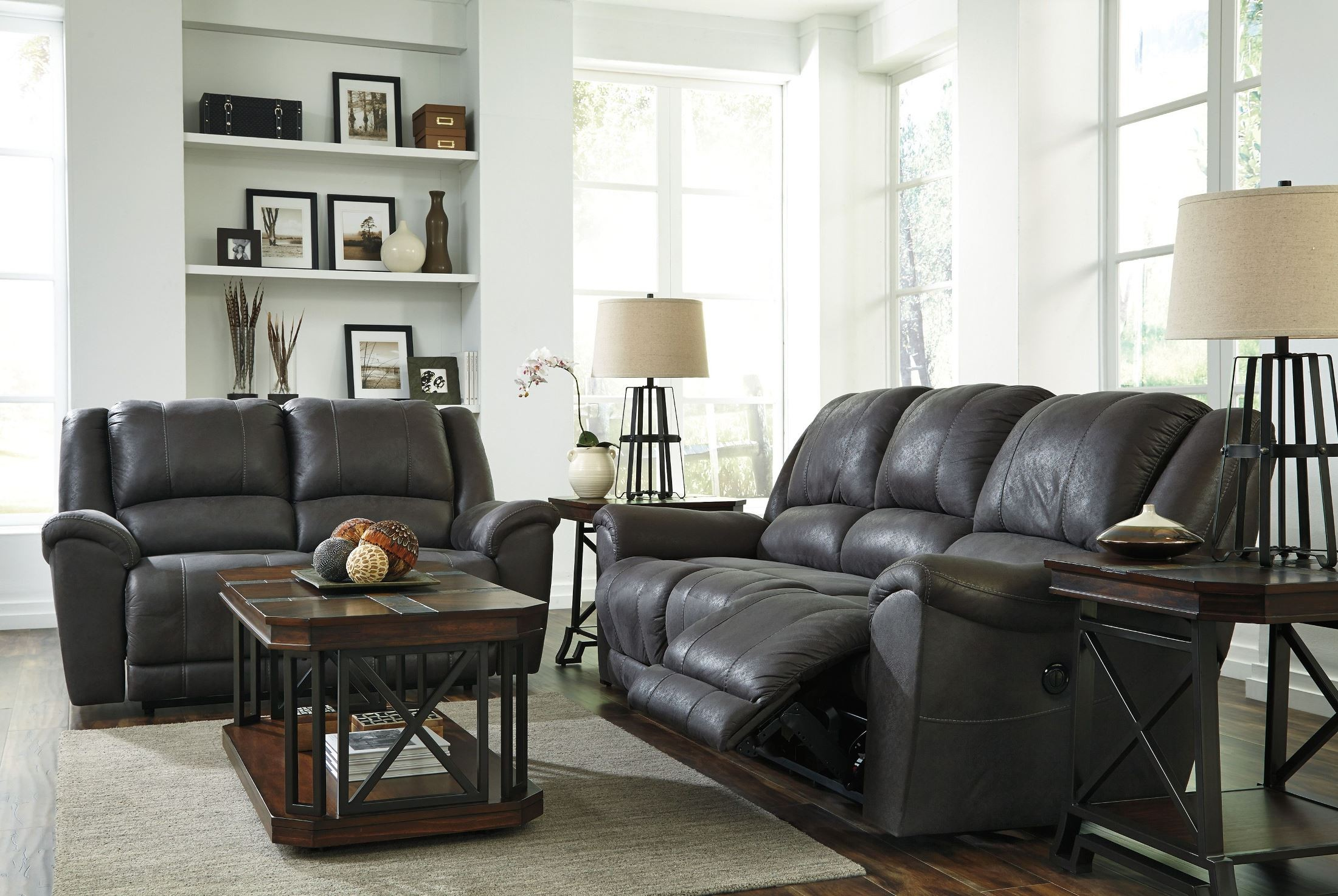Gray Living Room Furniture Sets : Niarobi Gray Reclining Living Room Set from Ashley ...