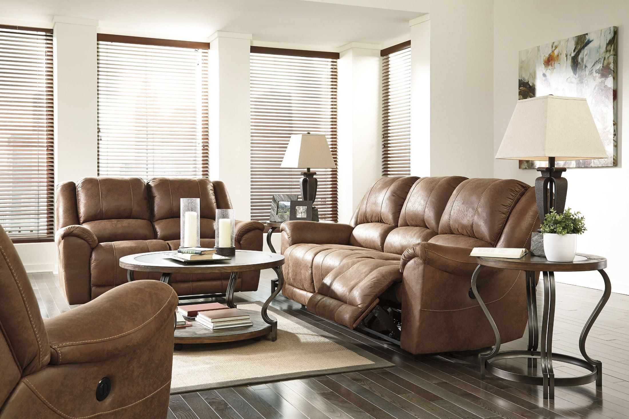 Niarobi saddle reclining sofa from ashley 4060188 for Affordable furniture 3 piece sectional in wyoming saddle