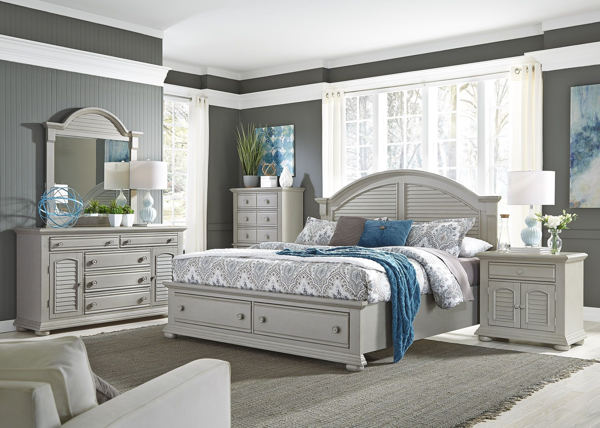 Summer House Ii Gray Storage Bedroom Set 407 Br Qsb Liberty