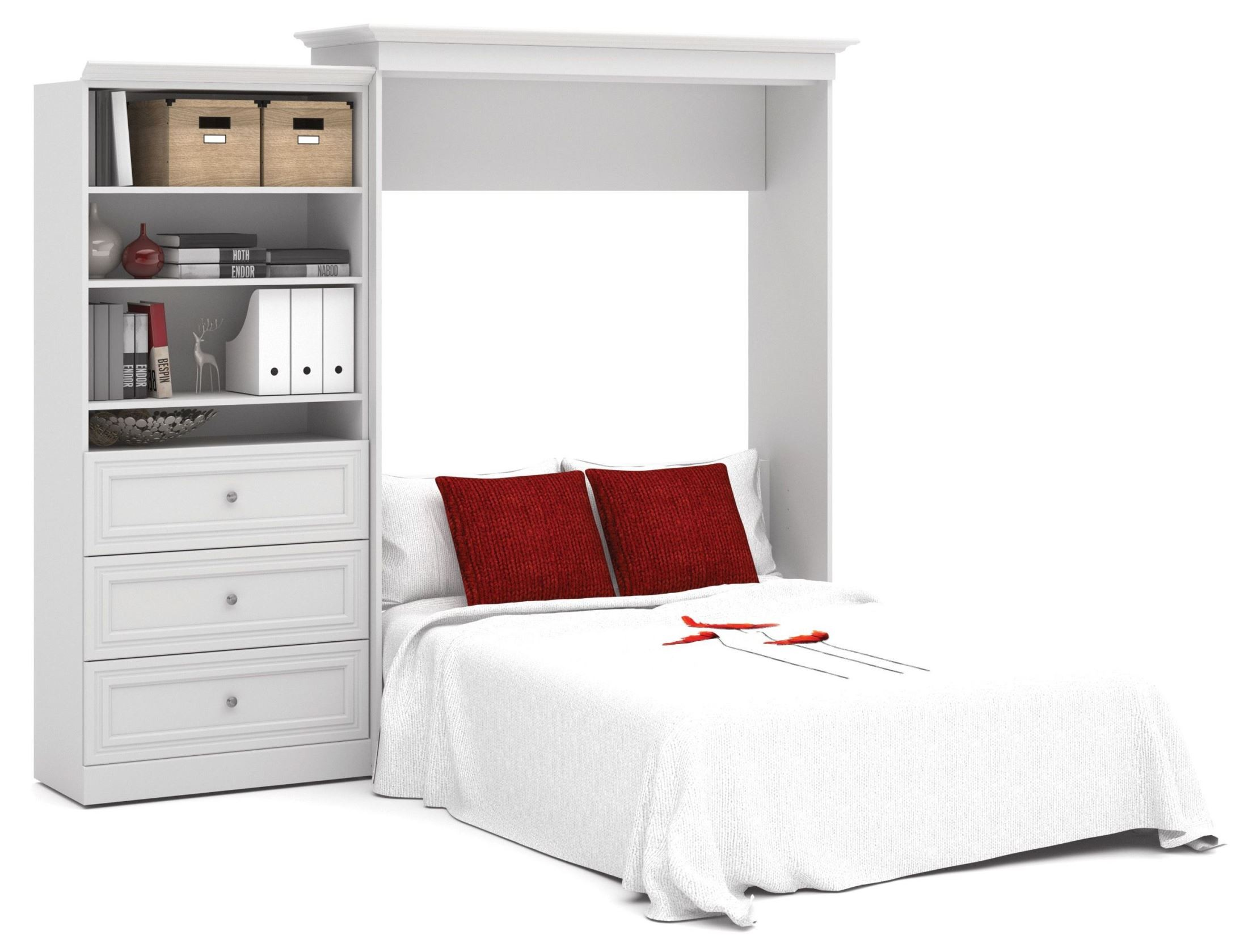 Versatile White 101 39 39 Queen Wall Bed From Bestar 40885 17 Coleman