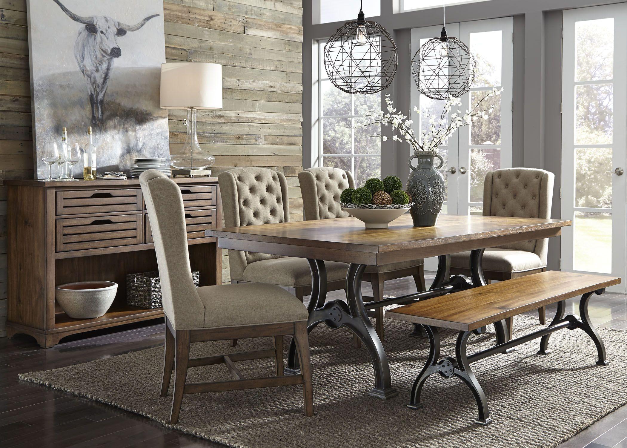 Arlington house cobblestone brown trestle dining room set for Brown dining room set