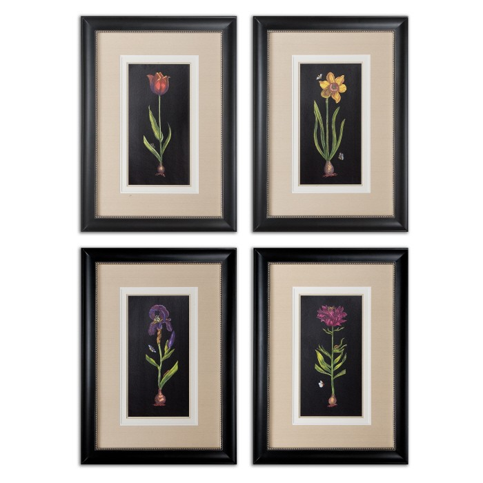 springtime flowers wall art set of 4 41396 uttermost accents. Black Bedroom Furniture Sets. Home Design Ideas
