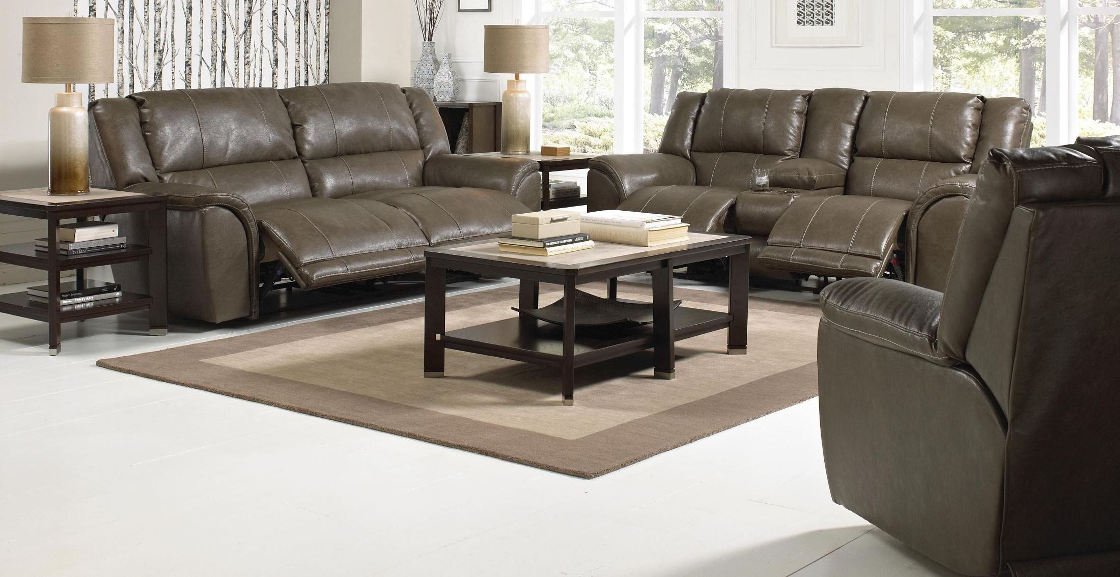 Carmine Smoke Reclining Living Room Set From Catnapper 4151120000000000 C