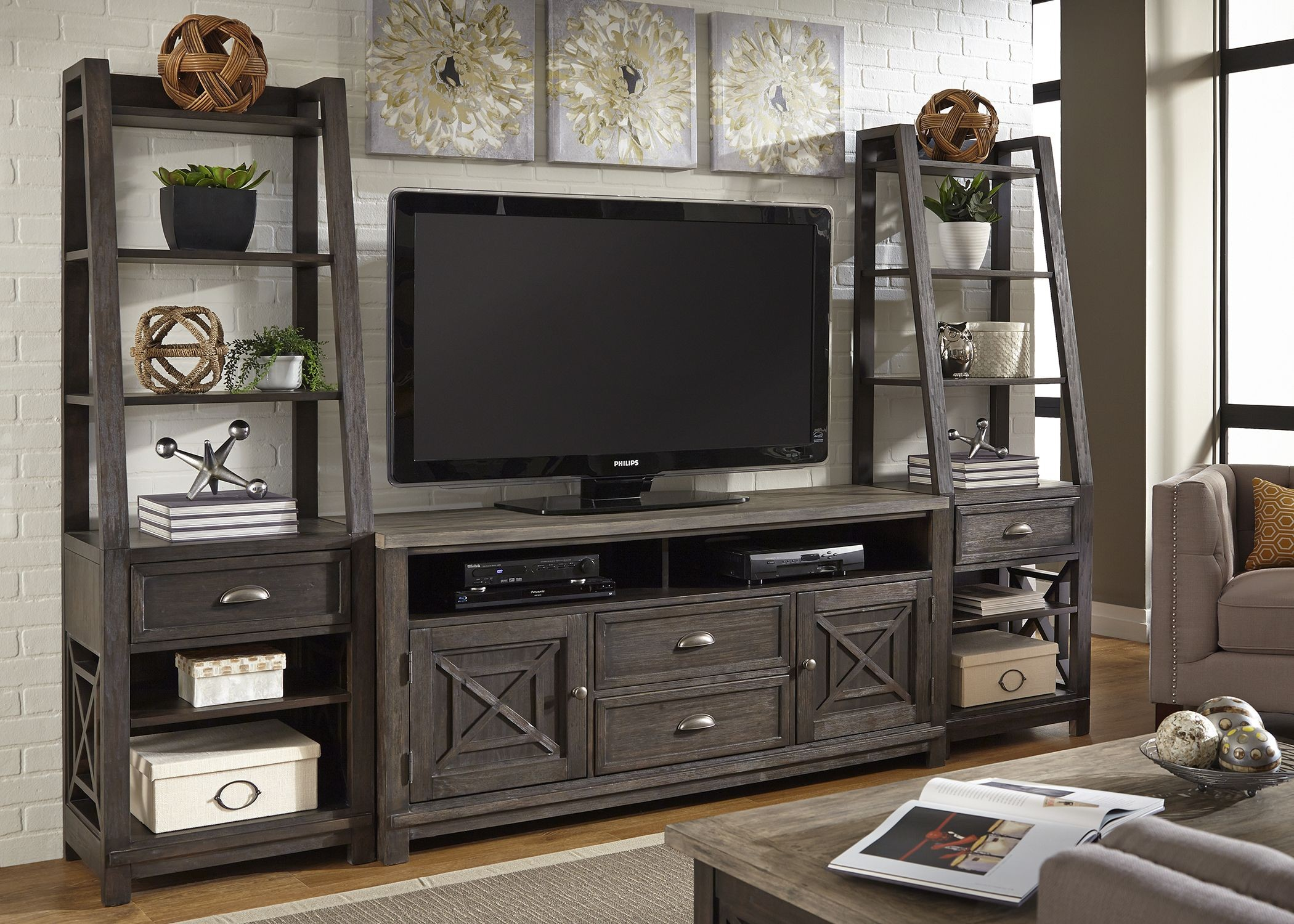 Heatherbrook Charcoal And Ash Entertainment Wall Unit 422