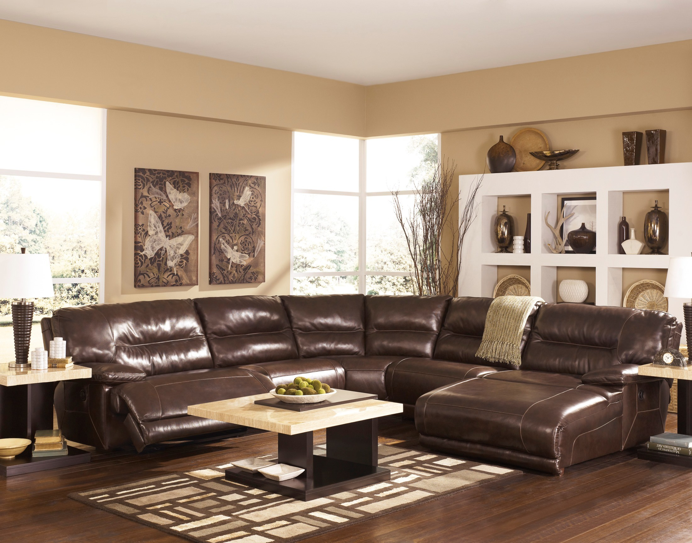 Exhilaration chocolate right arm facing reclining for 2 arm pressback chaise