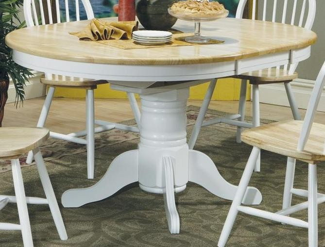 Damen Natural White Oval Pedestal Dining Table With Leaf 4254