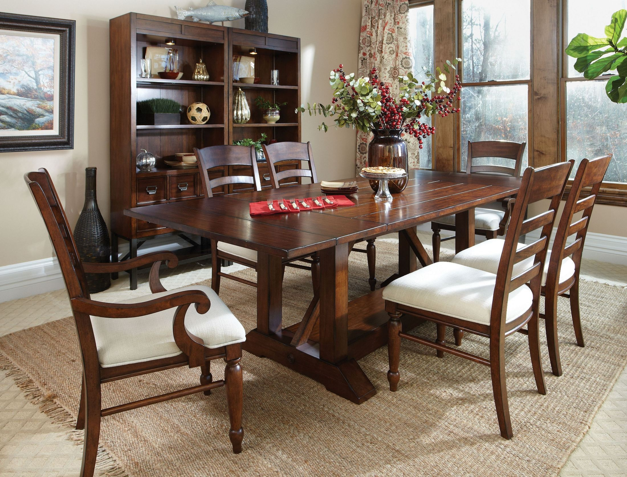 Blue ridge trestle storage dining room set 426 096 012013180532 klaussner - Dining room sets with storage ...
